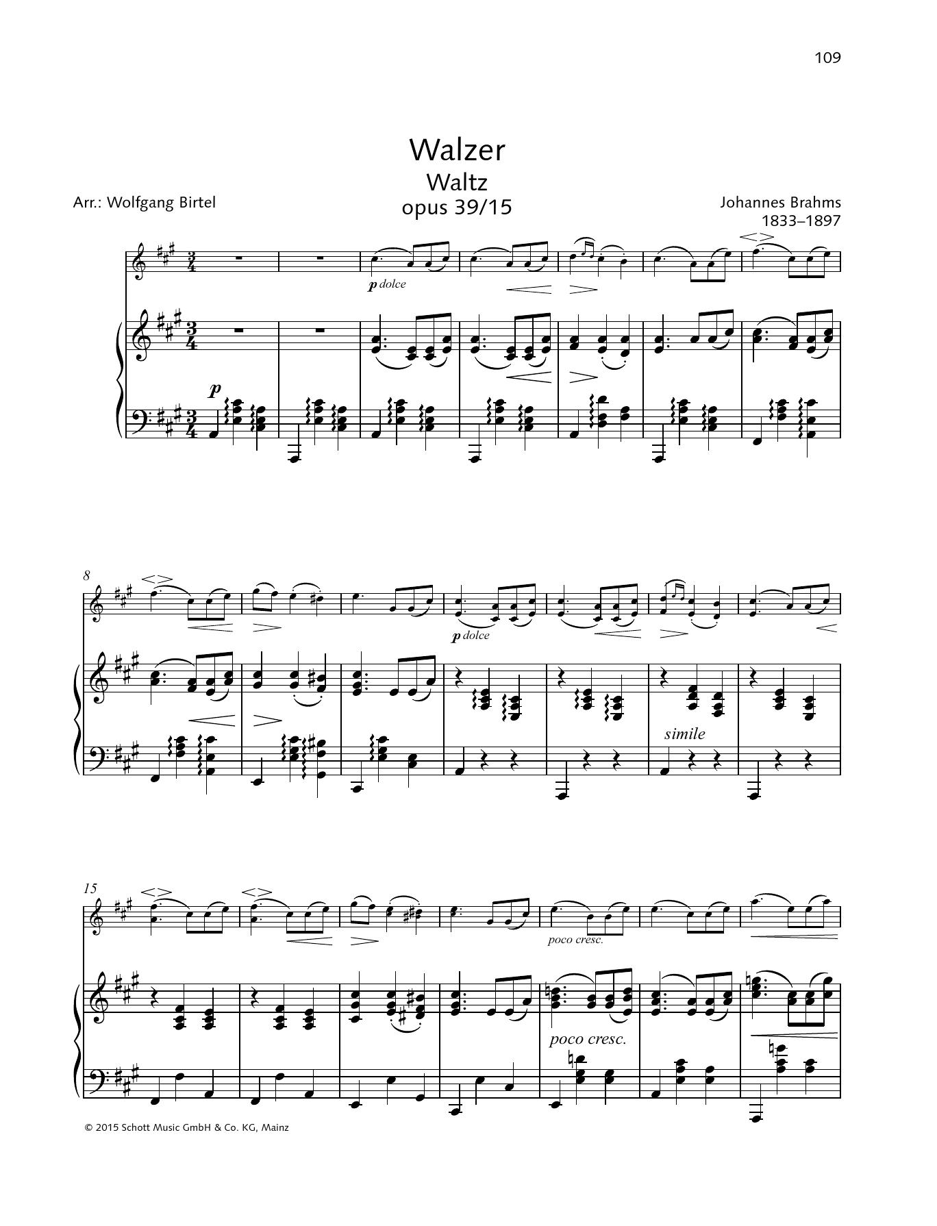 Waltz Op. 39, No. 15 Sheet Music