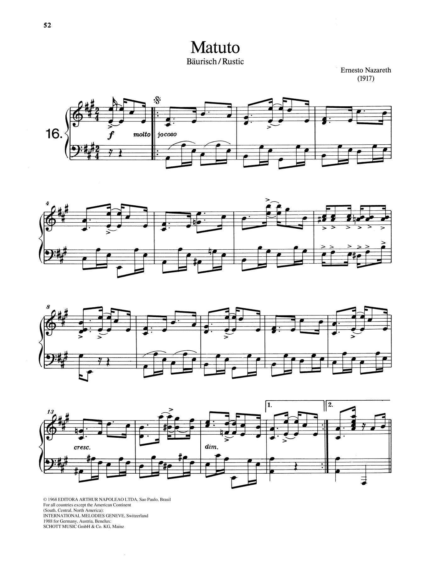 Matuto Sheet Music