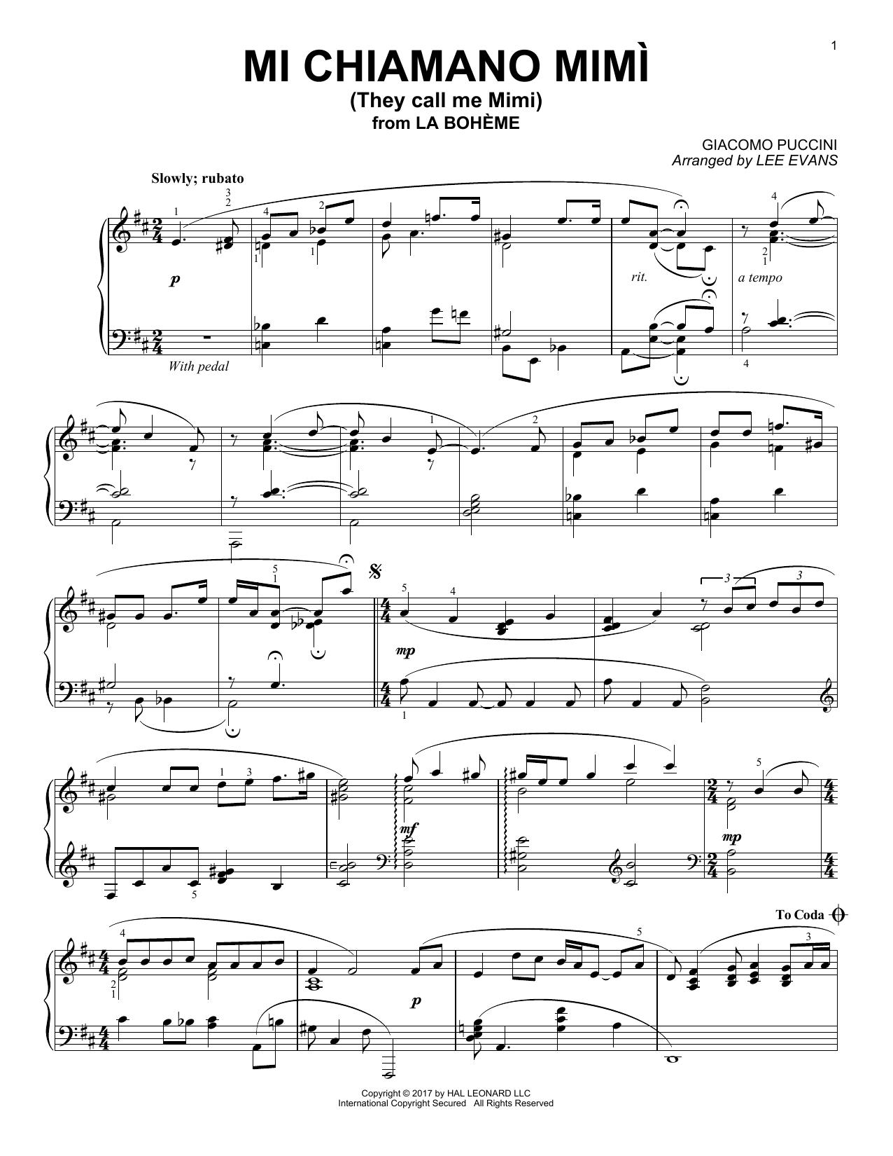 Me Chiamano Mimi (Piano Solo)
