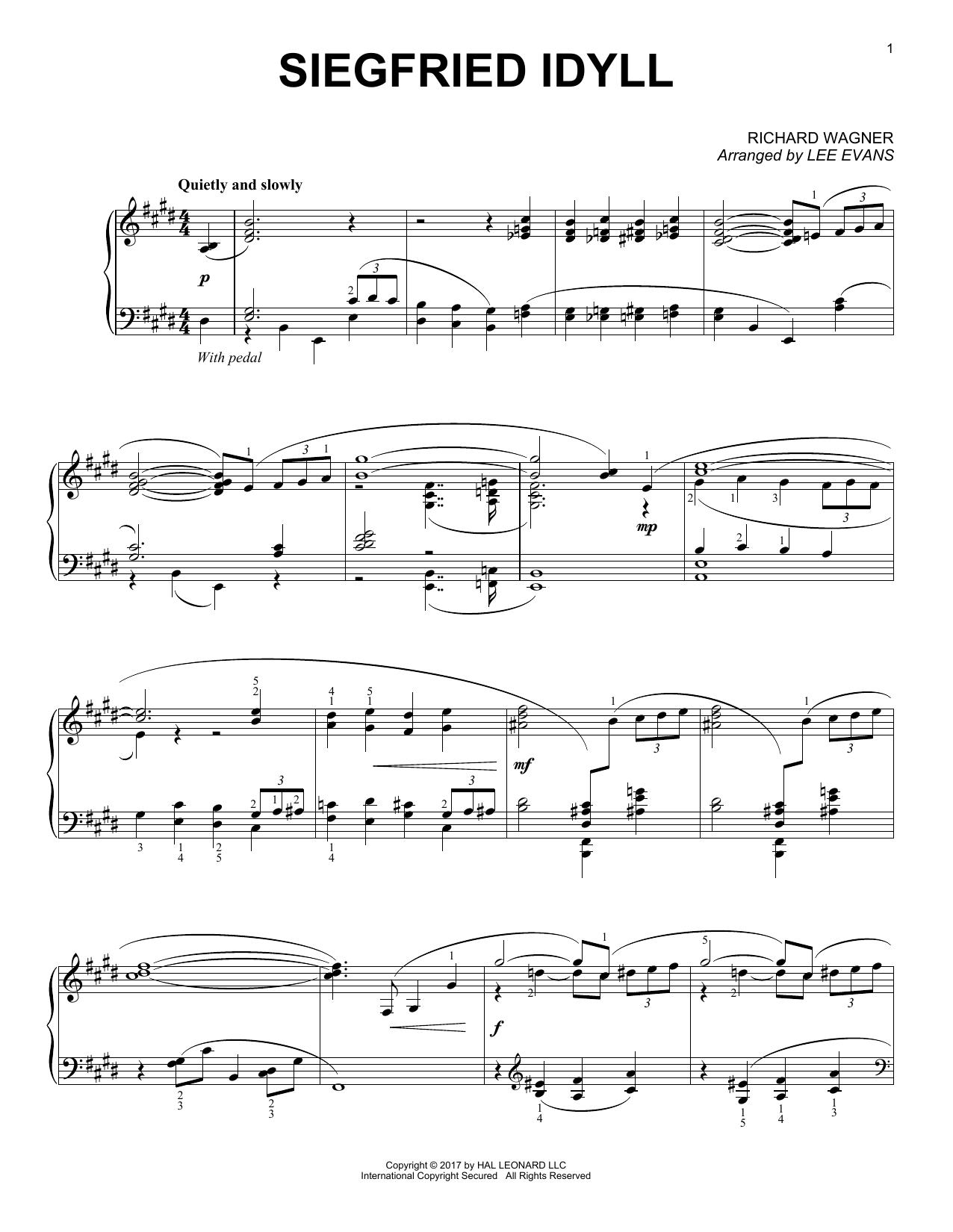 Siegried Idyll (arr. Lee Evans) (Piano Solo)