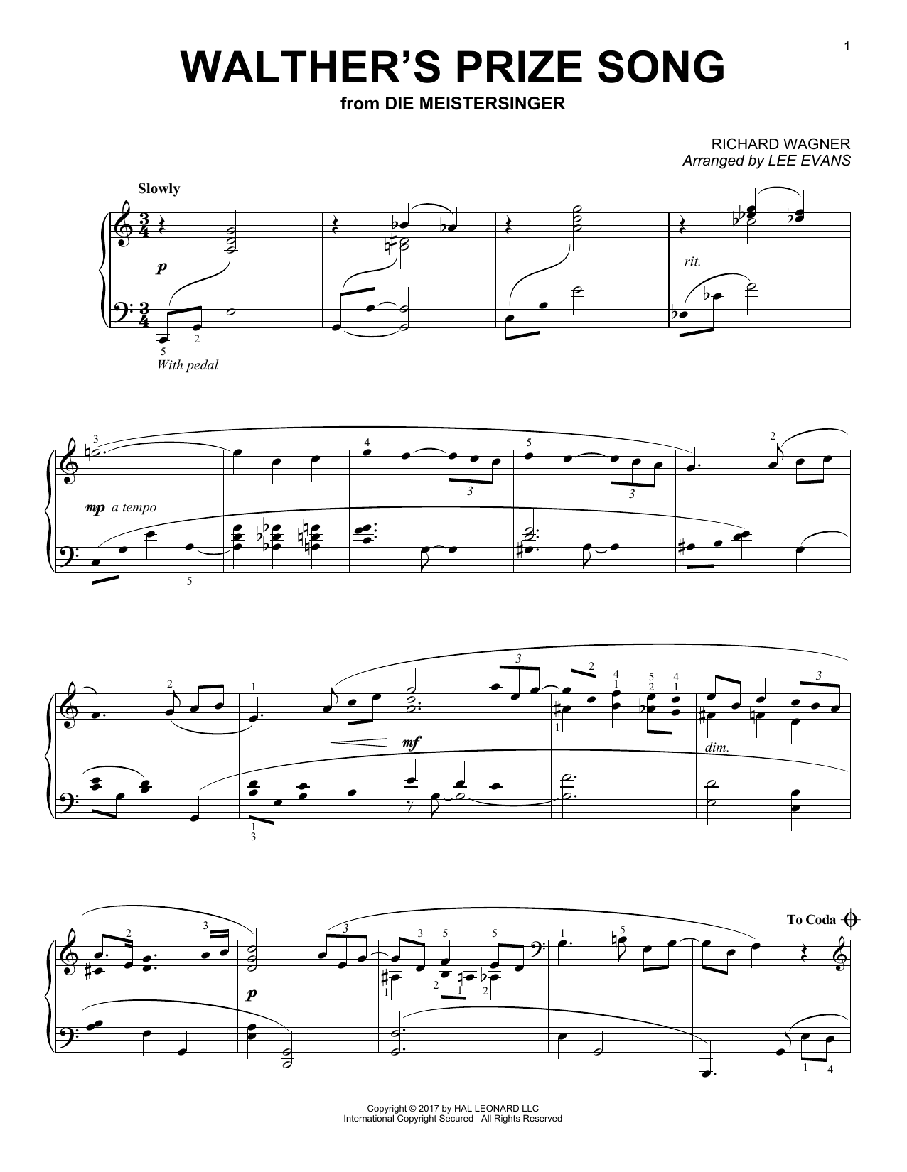 Walther's Prize Song (Piano Solo)