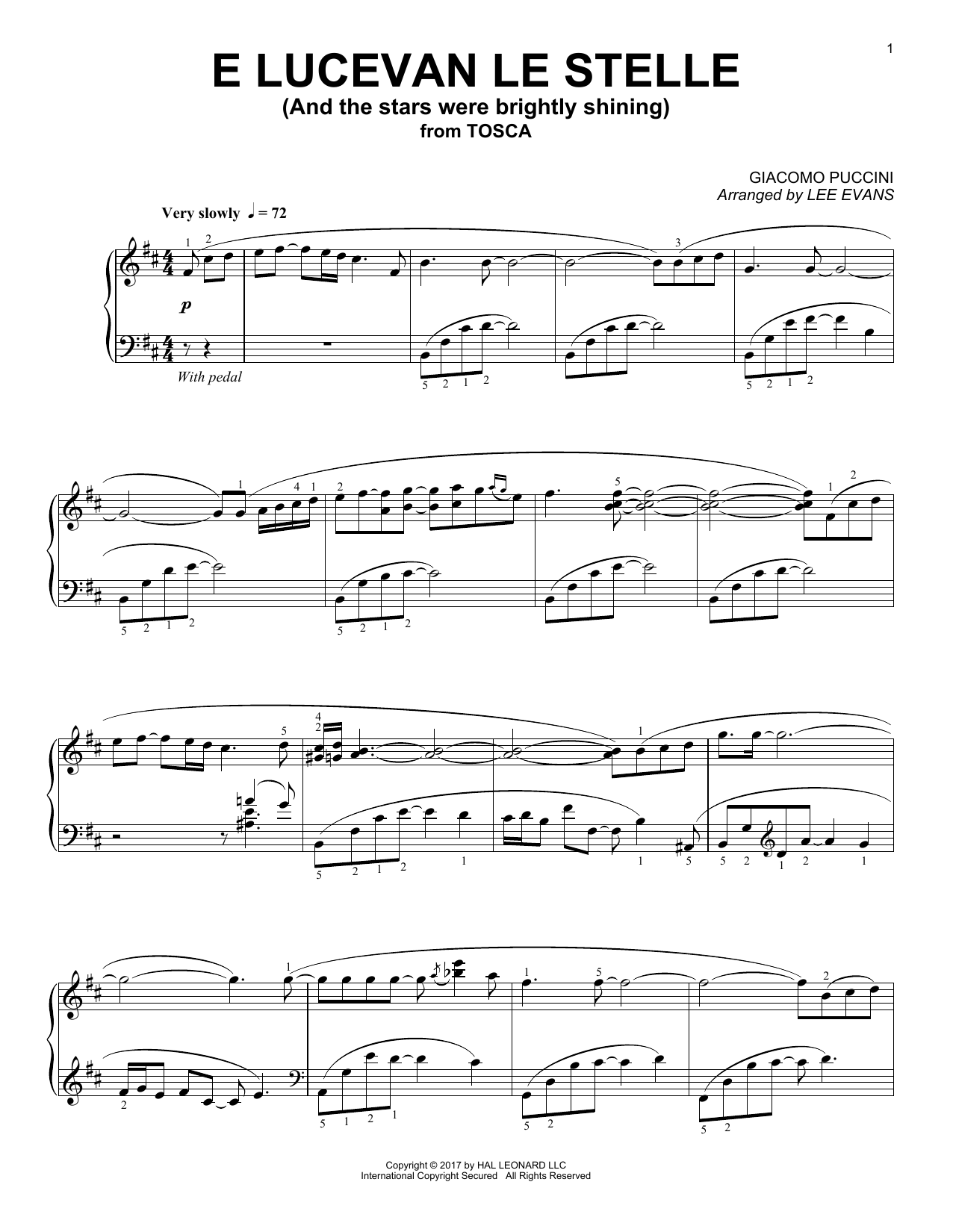 E lucevan le stelle from Tosca (arr. Lee Evans) (Piano Solo)