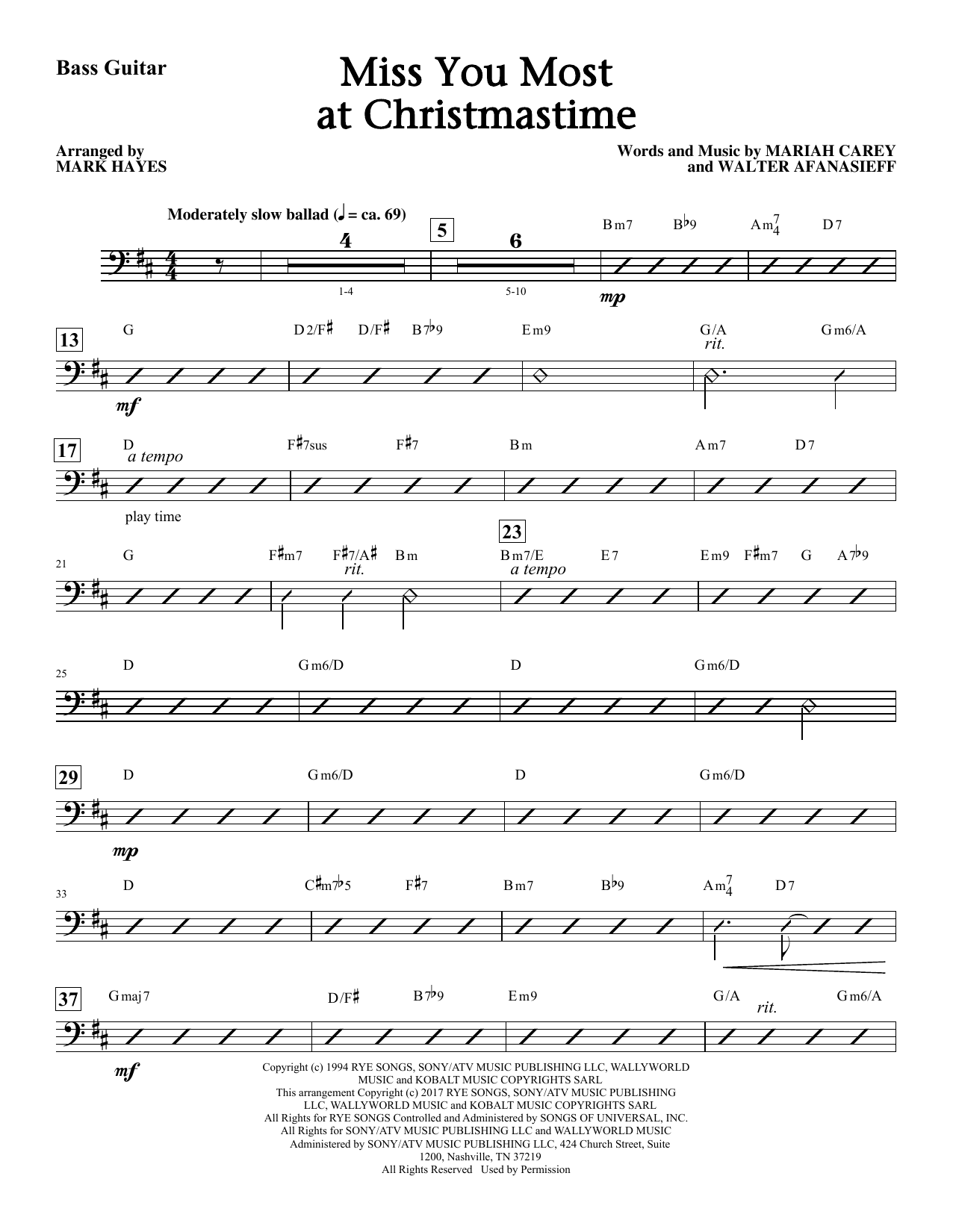 Miss You Most At Christmas Time - Bass Sheet Music