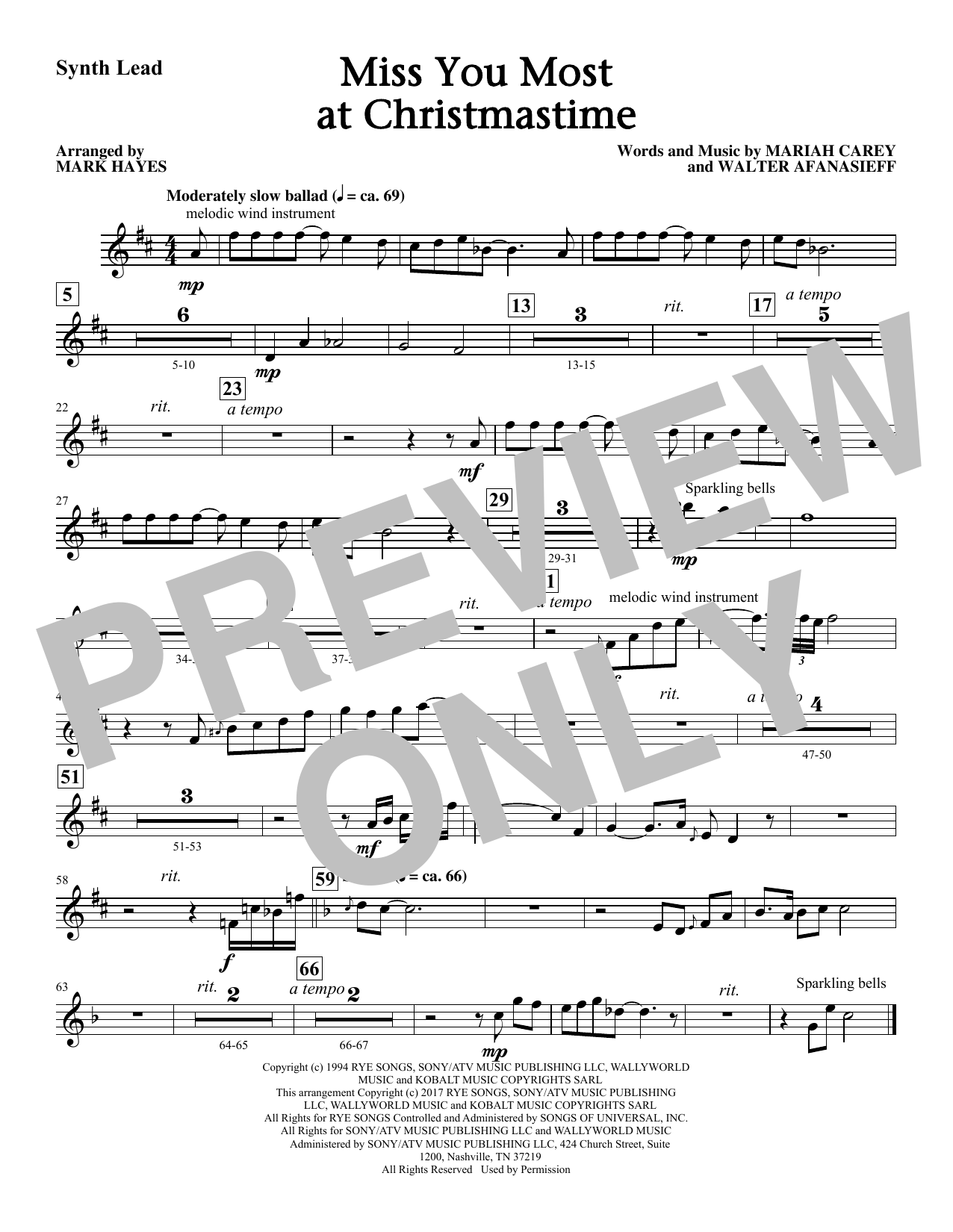 Miss You Most At Christmas Time - Synthesizer Sheet Music