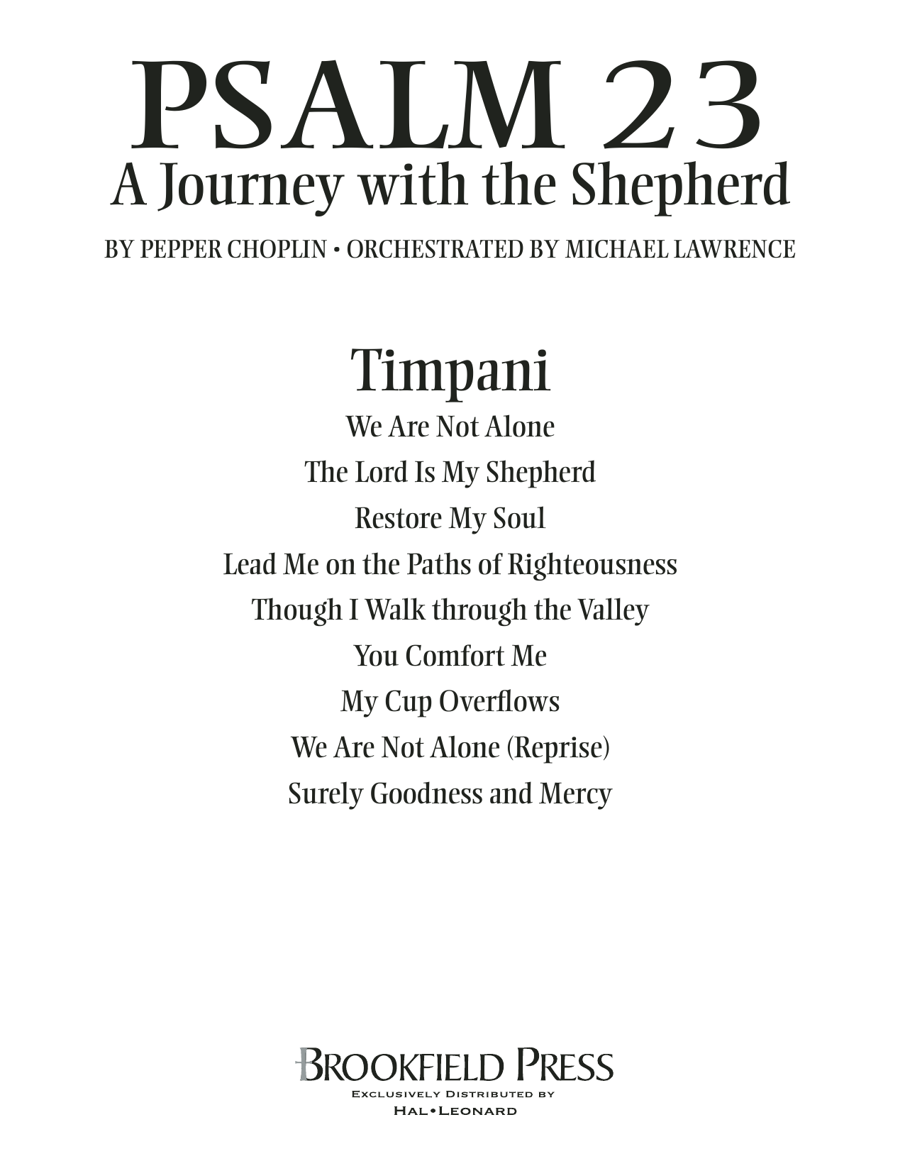 Psalm 23 - A Journey With The Shepherd - Timpani Sheet Music