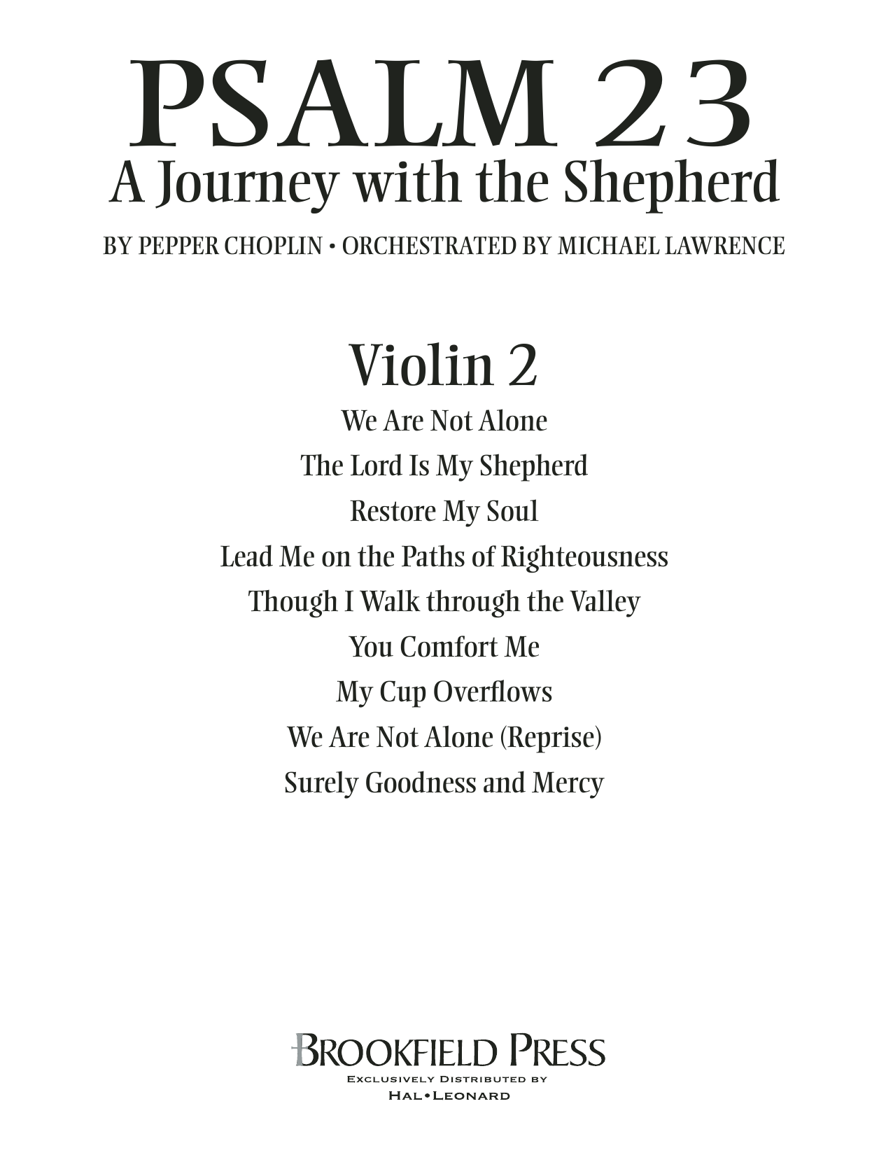 Psalm 23 - A Journey With The Shepherd - Violin 2 Sheet Music