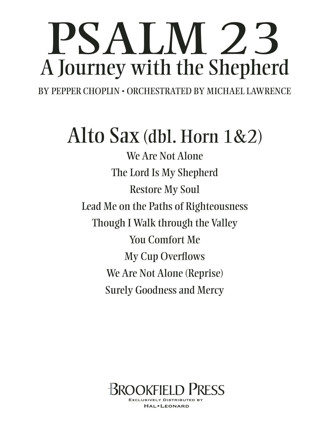 Psalm 23 - A Journey With The Shepherd - Alto Sax (sub. Horn) Sheet Music