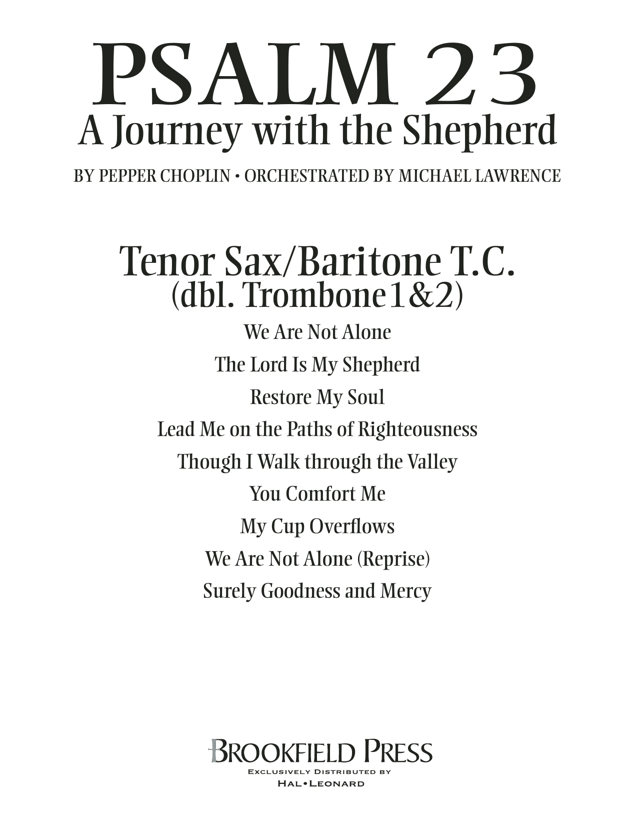 Psalm 23 - A Journey With The Shepherd - Tenor Sax/BariTC (sub Tbn 1-2) Partition Digitale