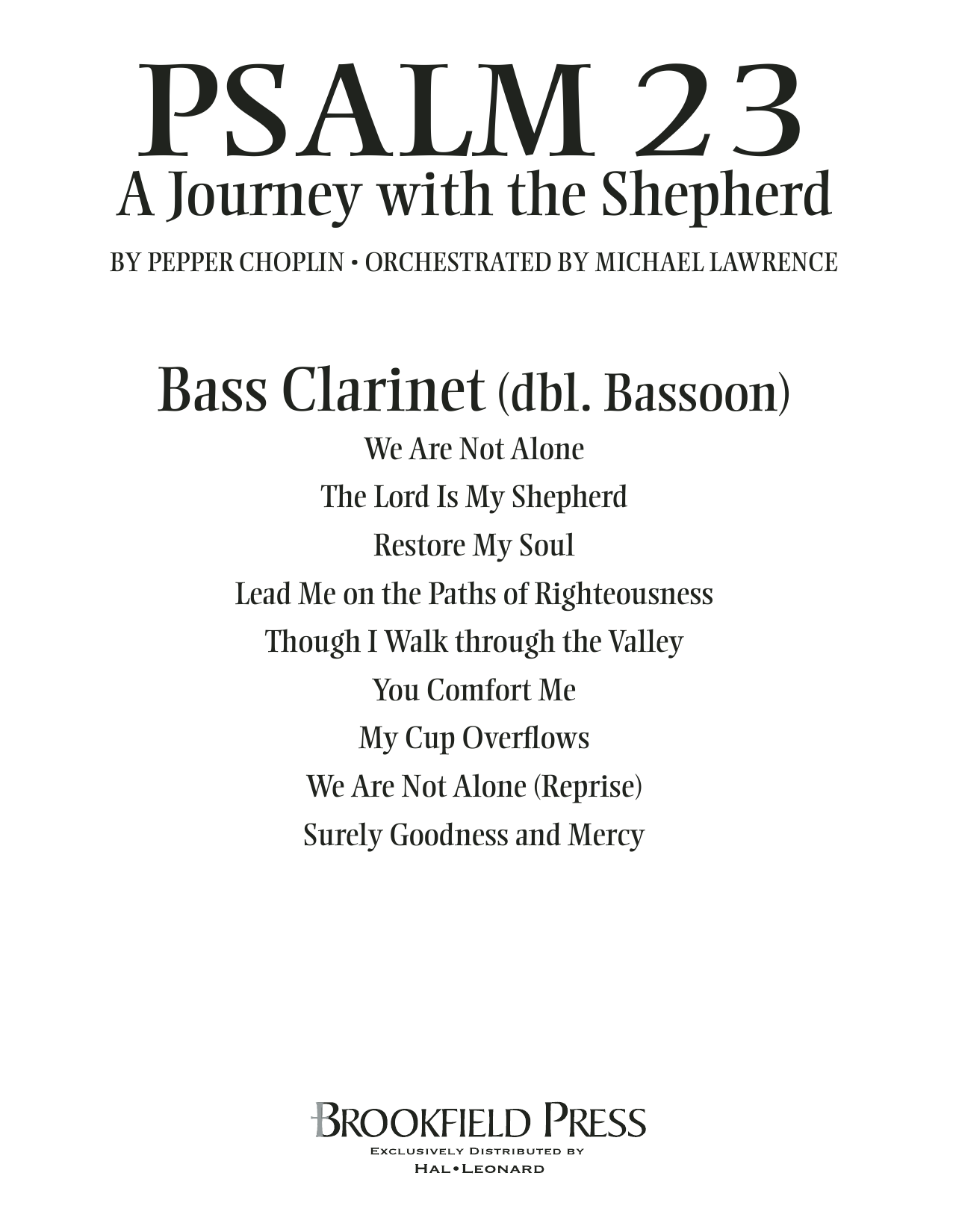 Psalm 23 - A Journey With The Shepherd - Bass Clarinet (sub. Bassoon) Partition Digitale