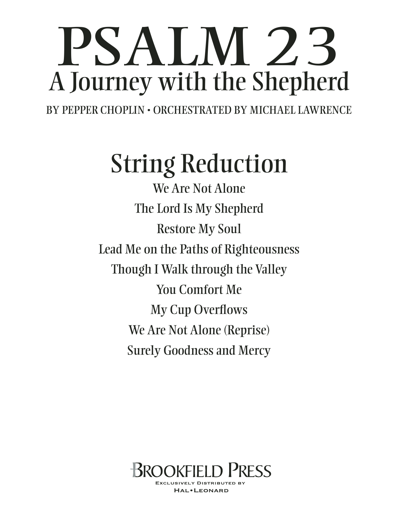Psalm 23 - A Journey With The Shepherd - Keyboard String Reduction Sheet Music