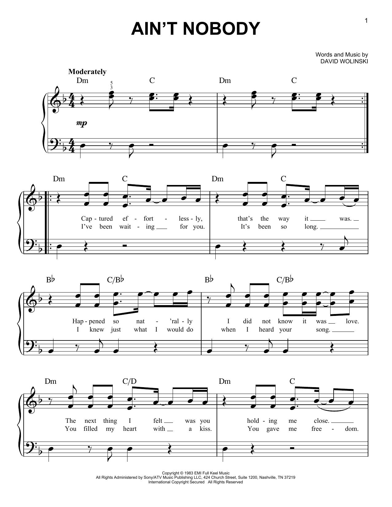 Ain't Nobody (Easy Piano)