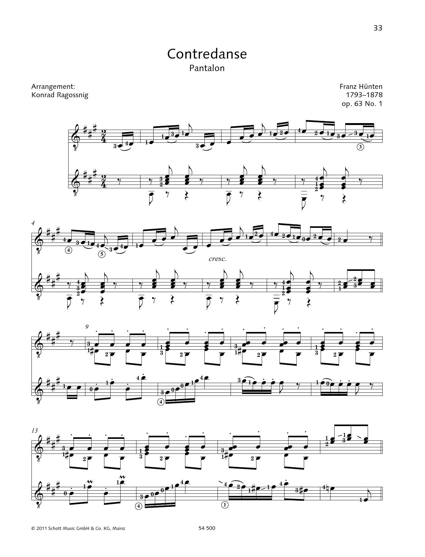 Contredanse - Full Score Sheet Music