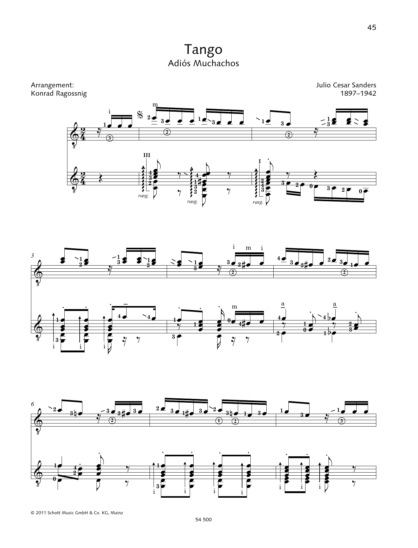 Tango - Full Score Sheet Music