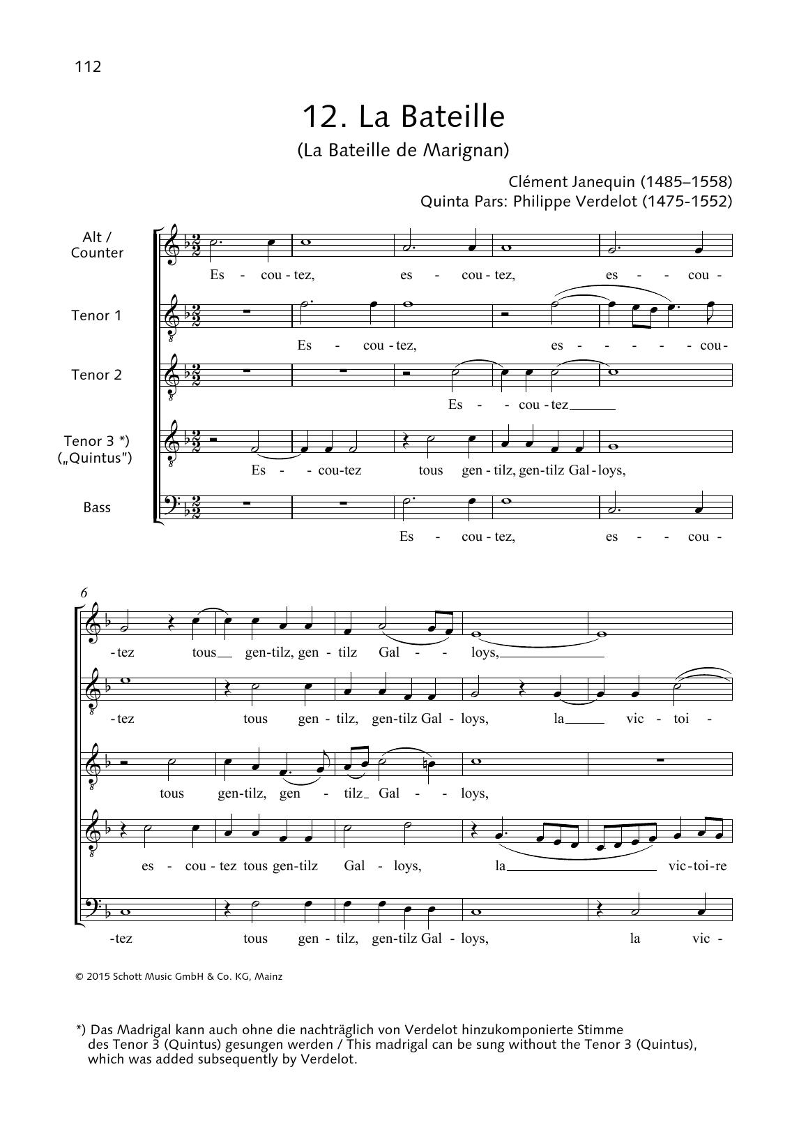 La Bateille de Marignan Sheet Music