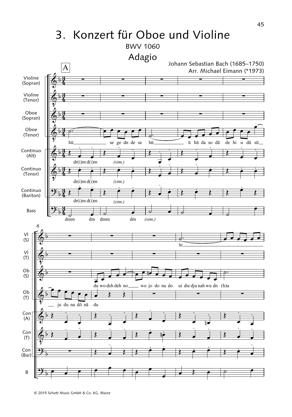 Concerto for Oboe and Violin (Adagio) Sheet Music