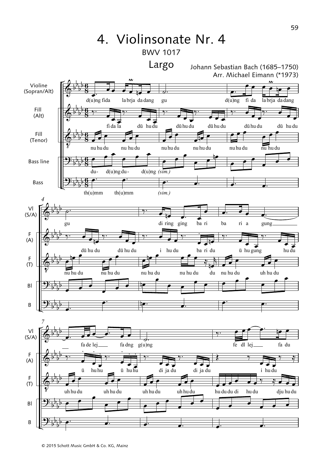Violin Sonata No. 4 (Largo) Sheet Music