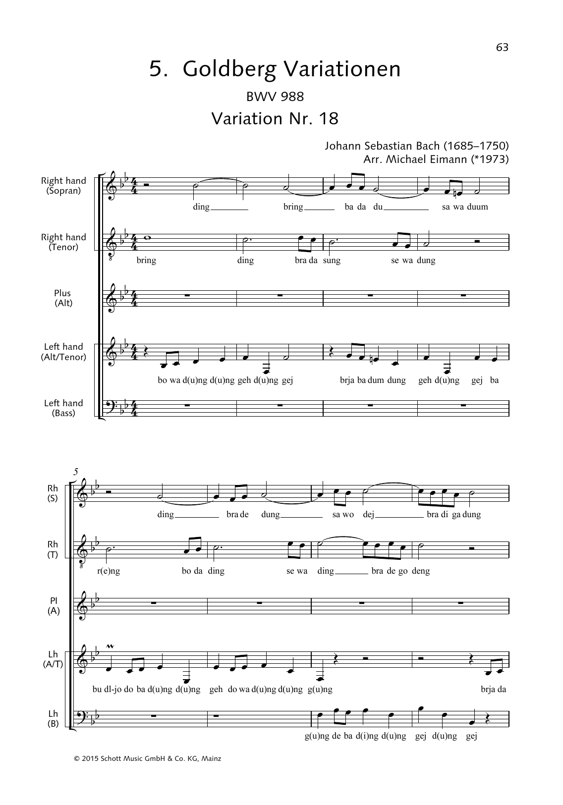 Goldberg Variations, Variation No. 18 Sheet Music