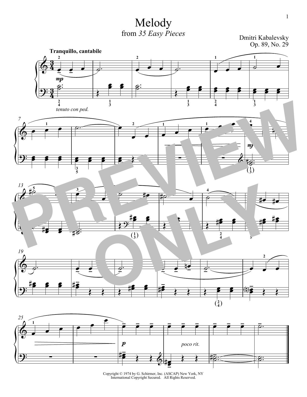 Melody, Op. 89, No. 29 (Piano Solo)
