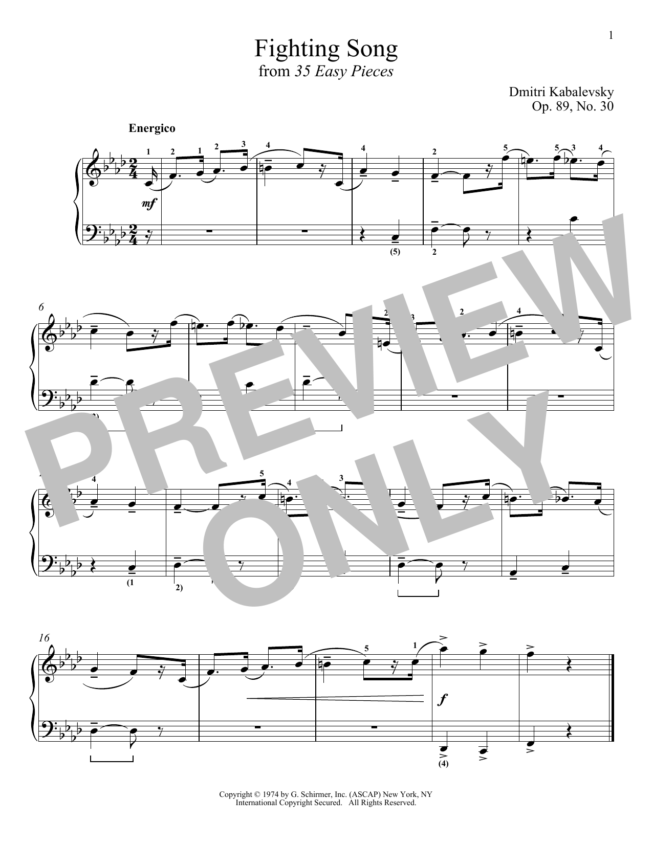 Fighting Song, Op. 89, No. 30 (Piano Solo)