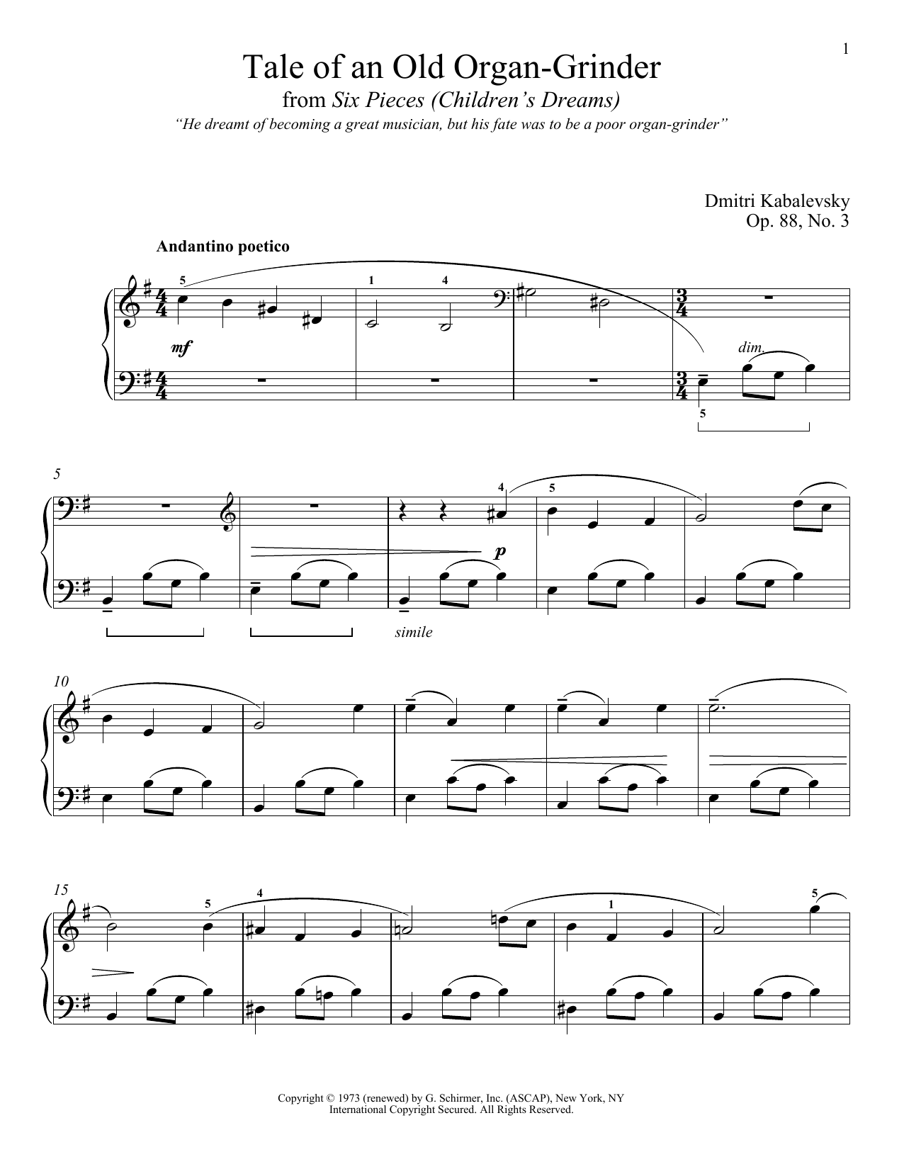 Tale Of An Old Organ-Grinder, Op. 88, No. 3 (Piano Solo)