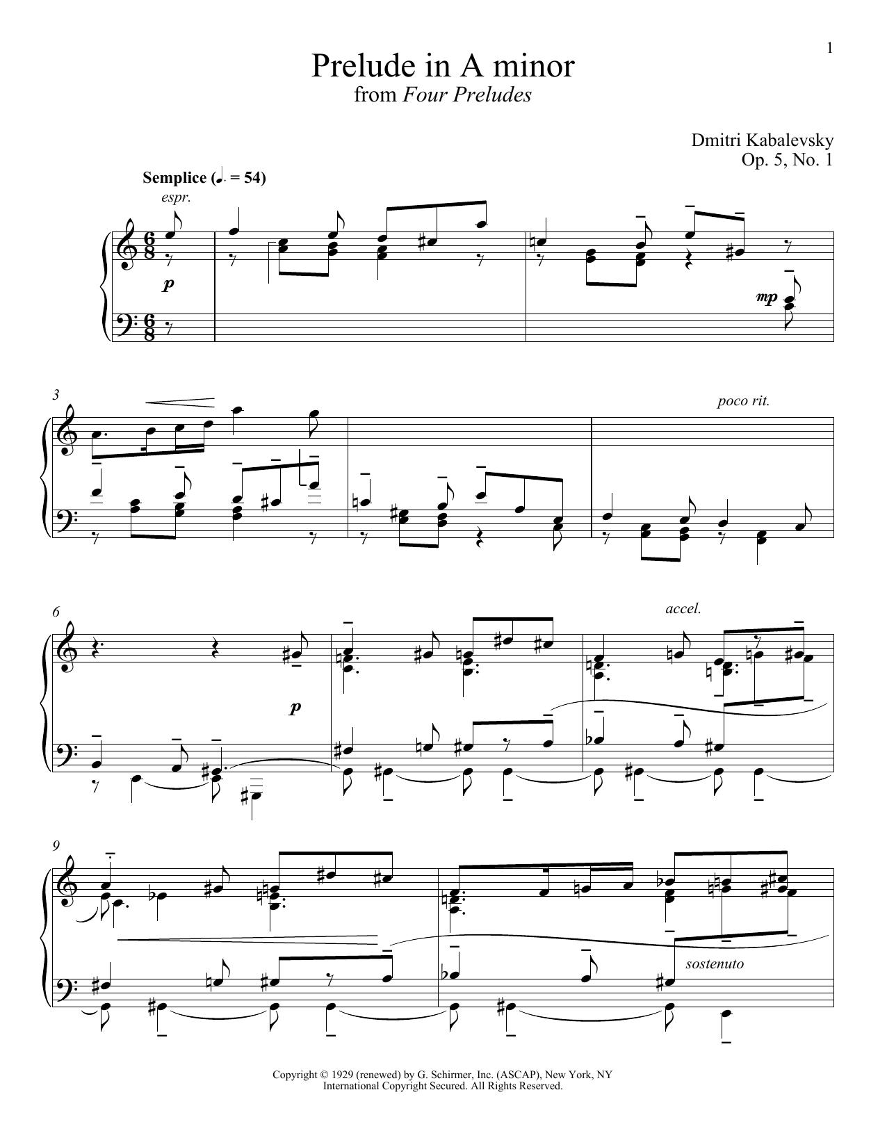Prelude In A Minor, Op. 5, No. 1 (Piano Solo)