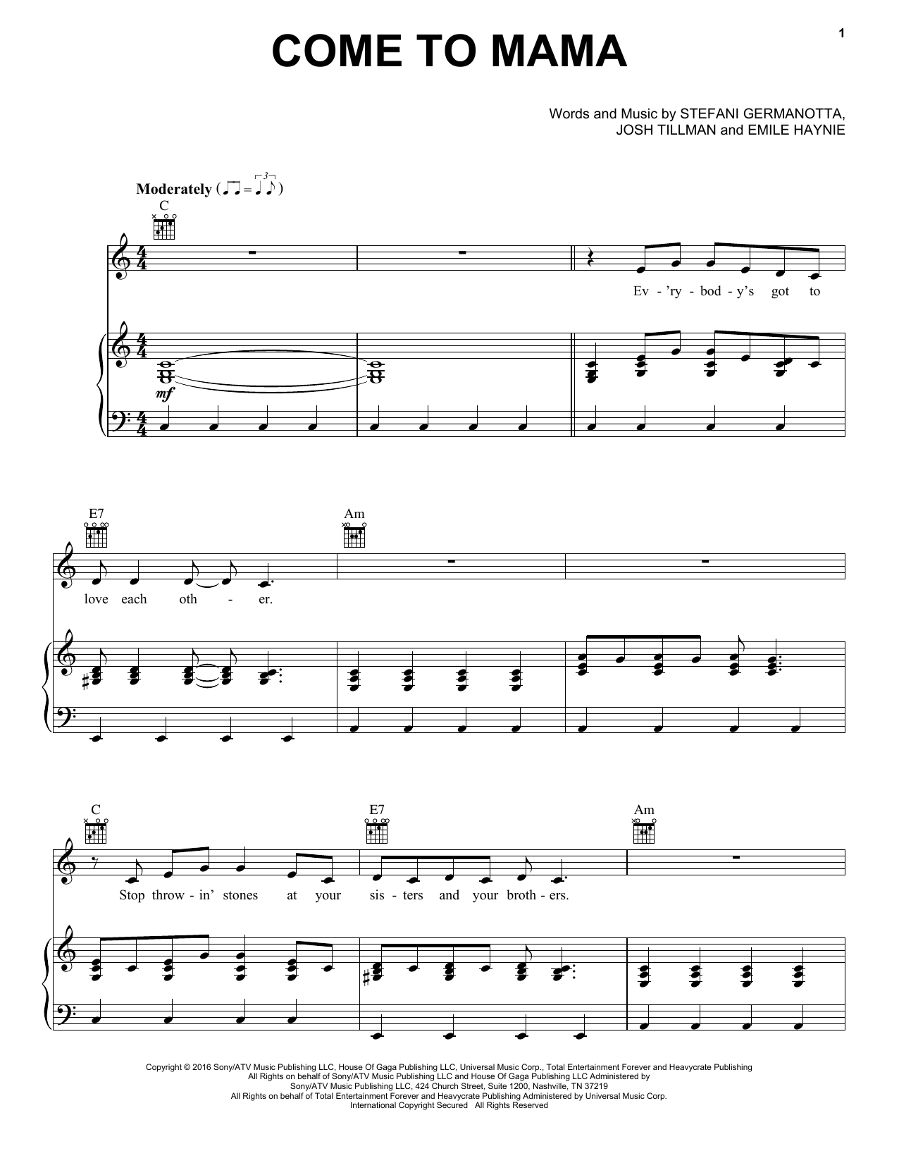 Come To Mama (Piano, Vocal & Guitar (Right-Hand Melody))