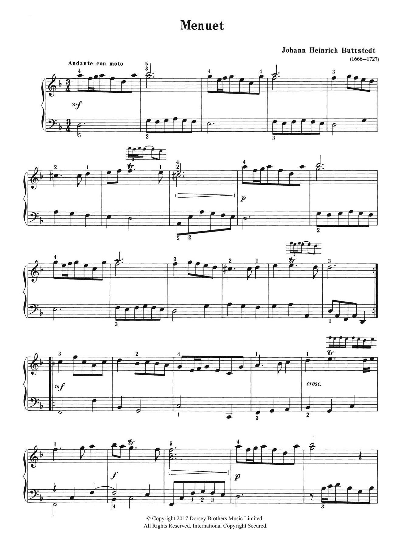 Menuet Sheet Music