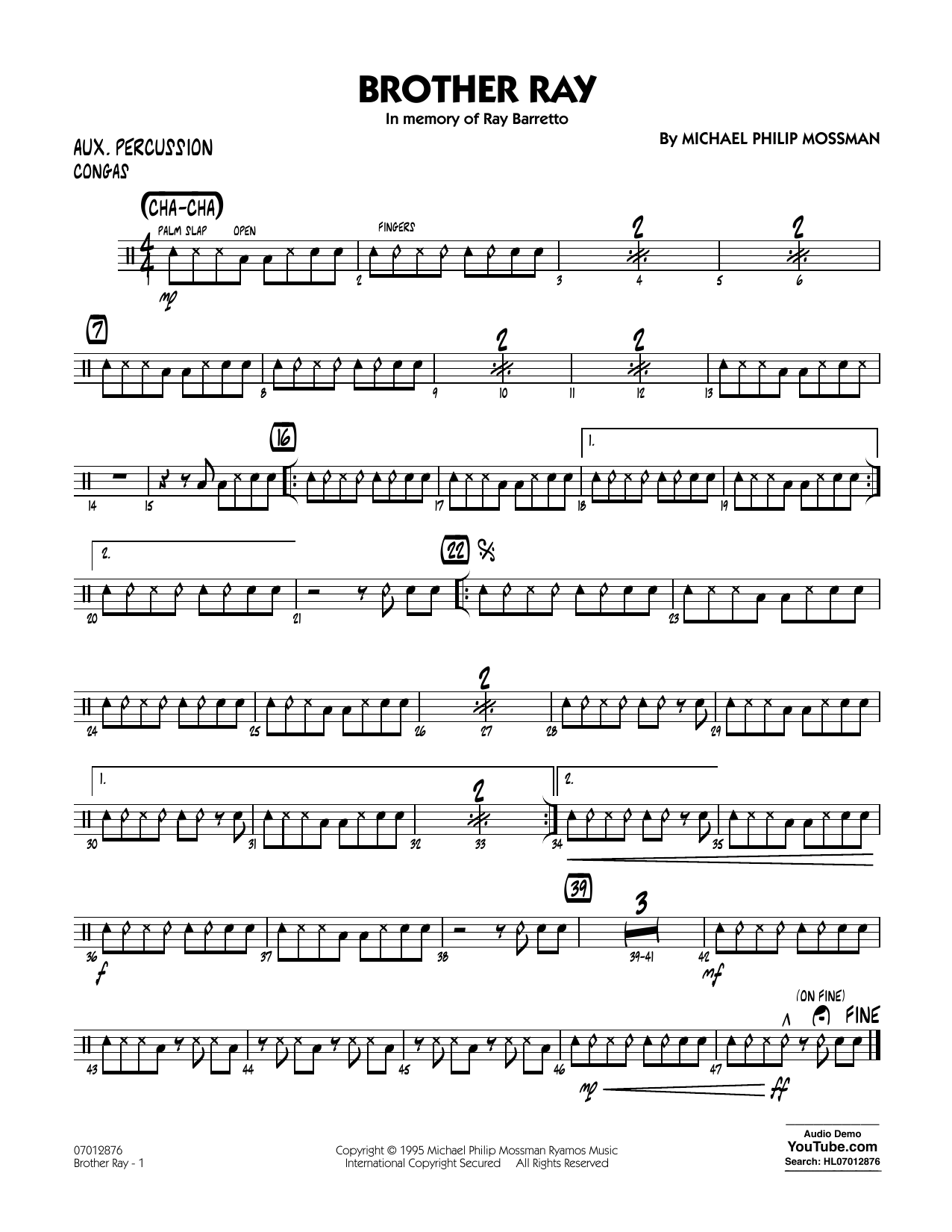 Brother Ray - Aux Percussion Sheet Music