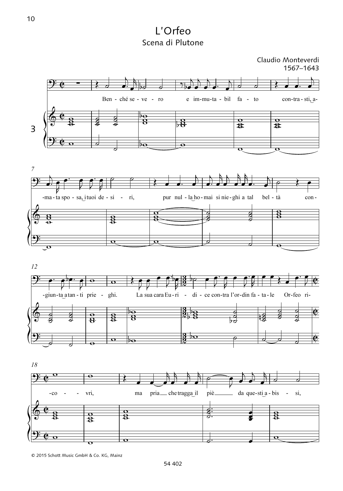 Benché severo e immutabil fato Sheet Music