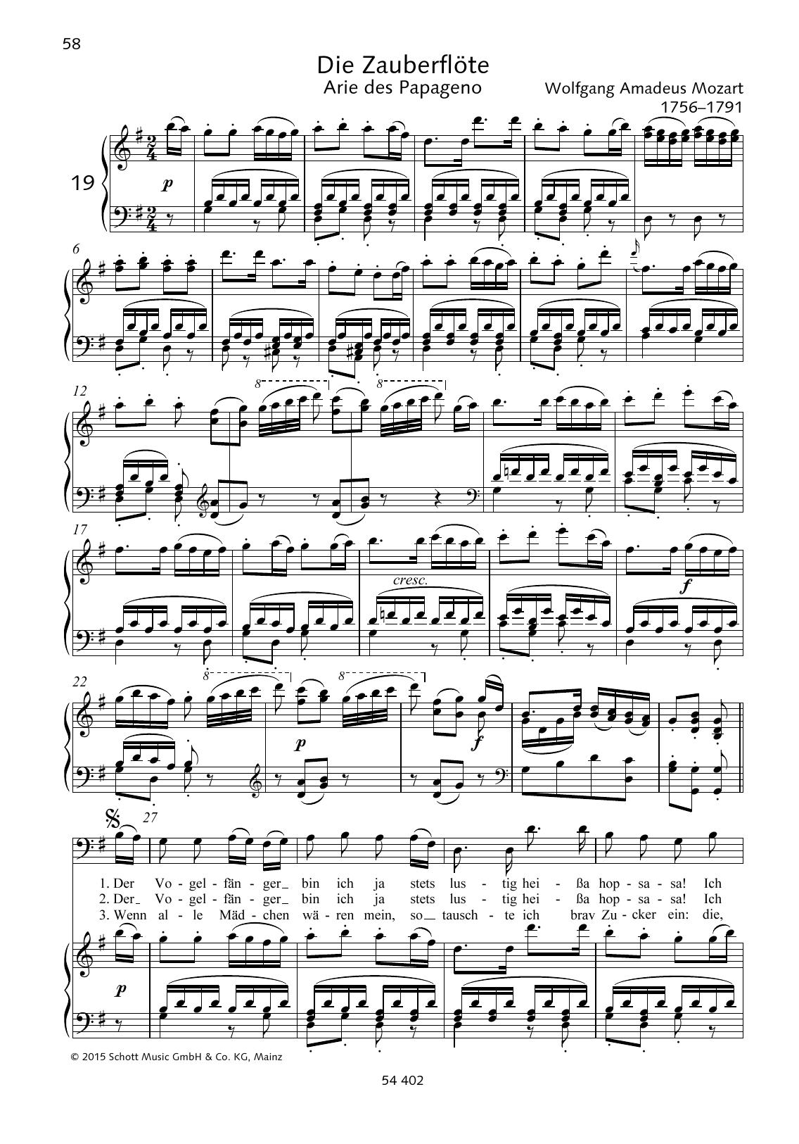 Der Vogelfanger Bin Ich Ja Sheet Music