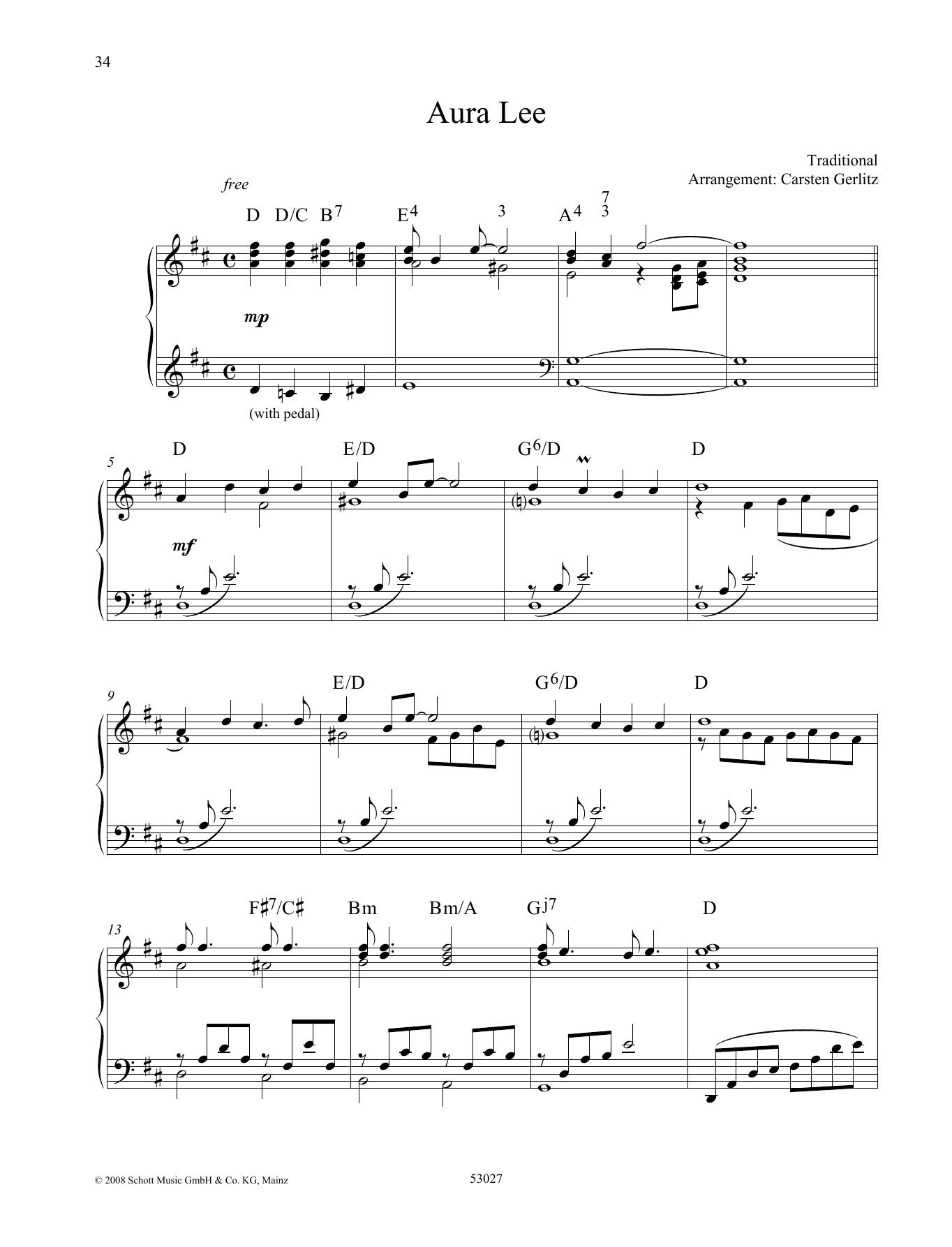 Aura Lee Sheet Music
