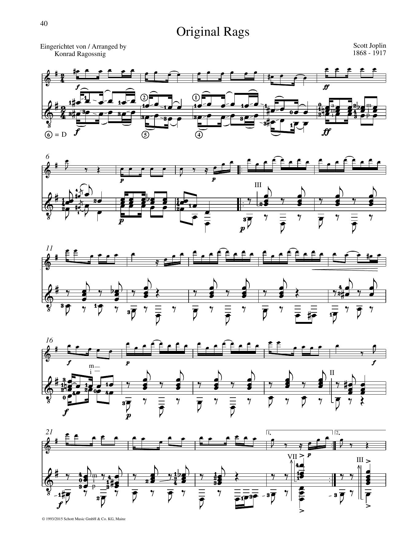 Original Rags - Full Score Sheet Music