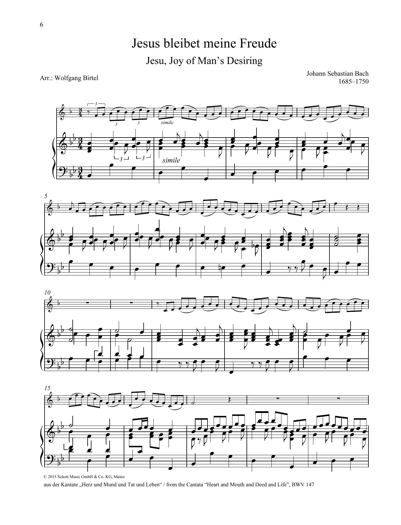 Jesu, Joy of Man's Desiring Sheet Music