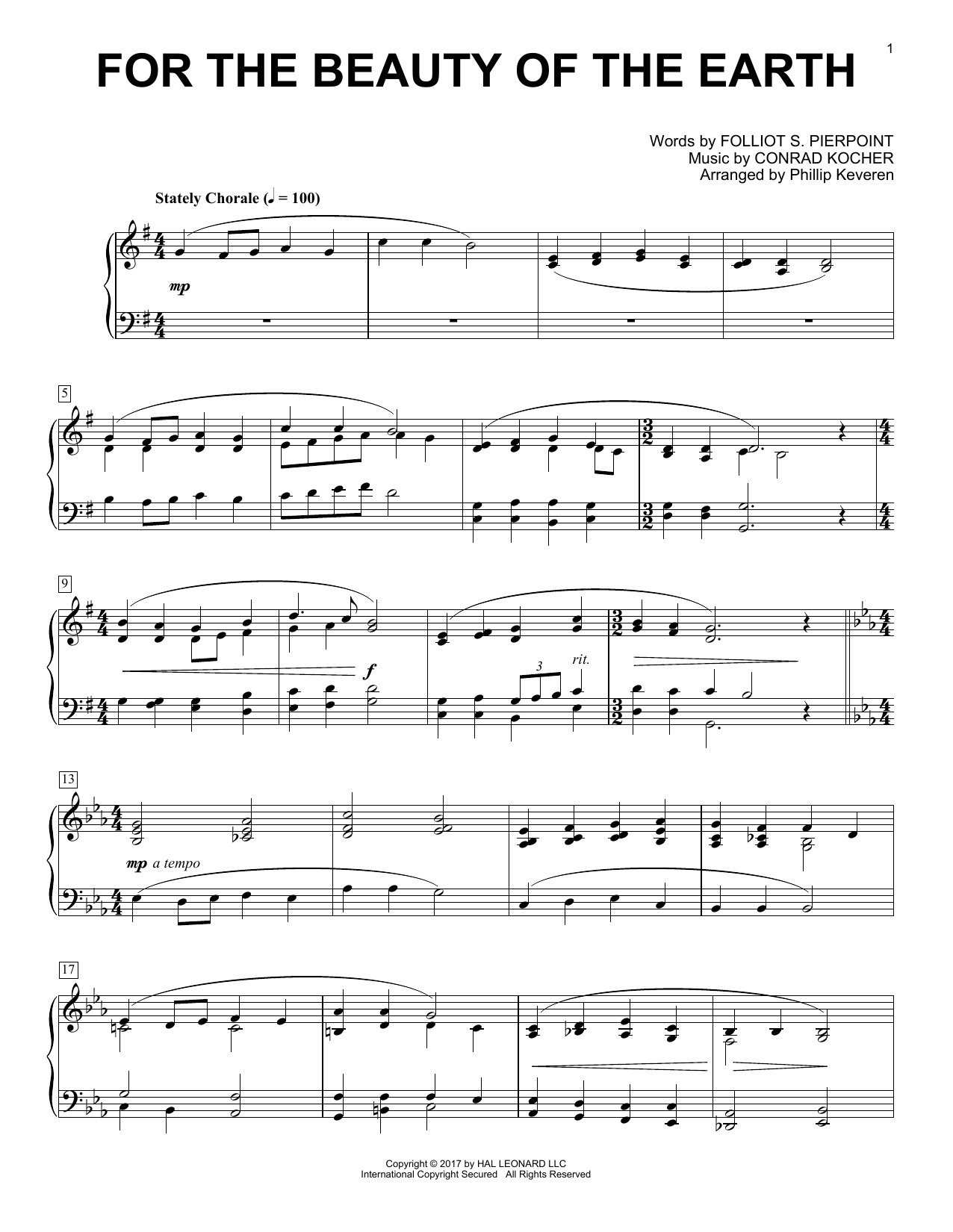 For The Beauty Of The Earth sheet music for piano solo by Folliot S. Pierpoint, Phillip Keveren and Conrad Kocher. Score Image Preview.