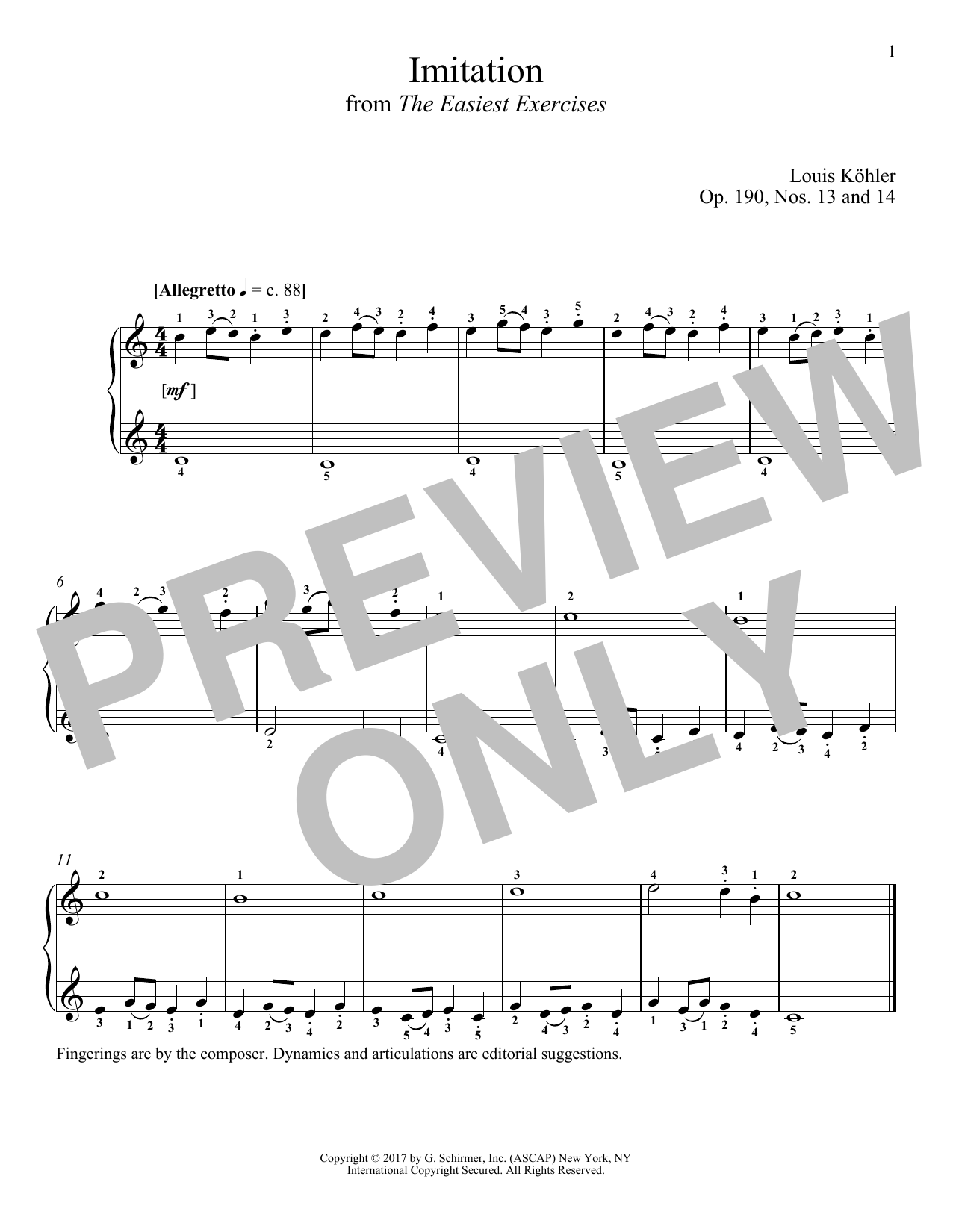 Imitation, Op. 190, Nos. 13 and 14 (Piano Solo)