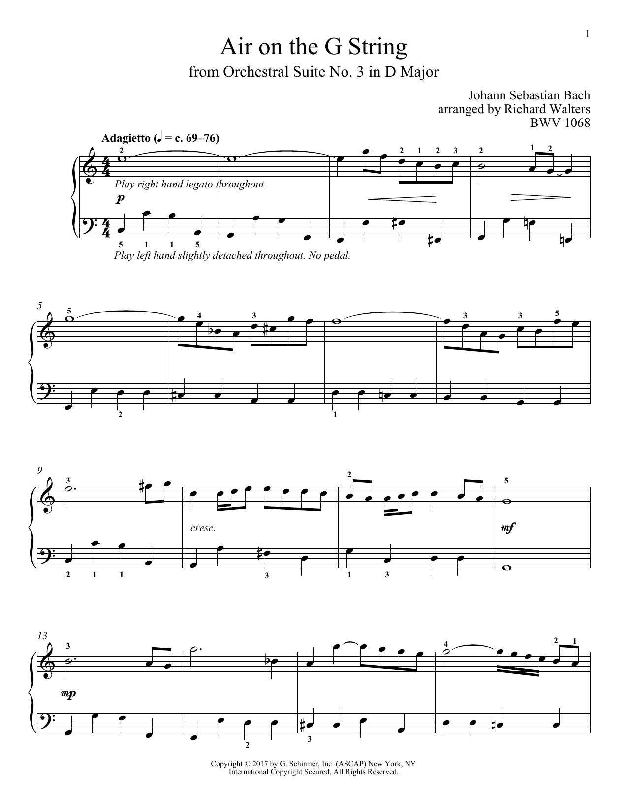 Air (Air On The G String) (Piano Solo)