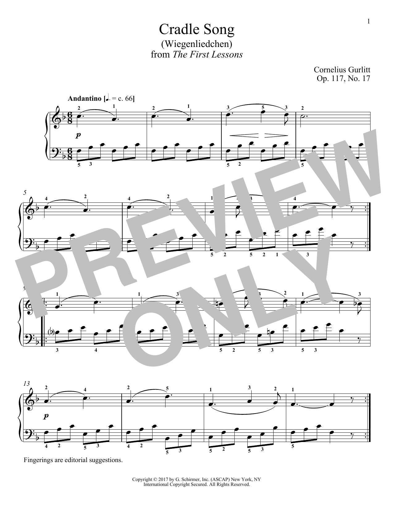 Cradle Song (Wiegenliedchen), Op. 117, No. 17 (Piano Solo)