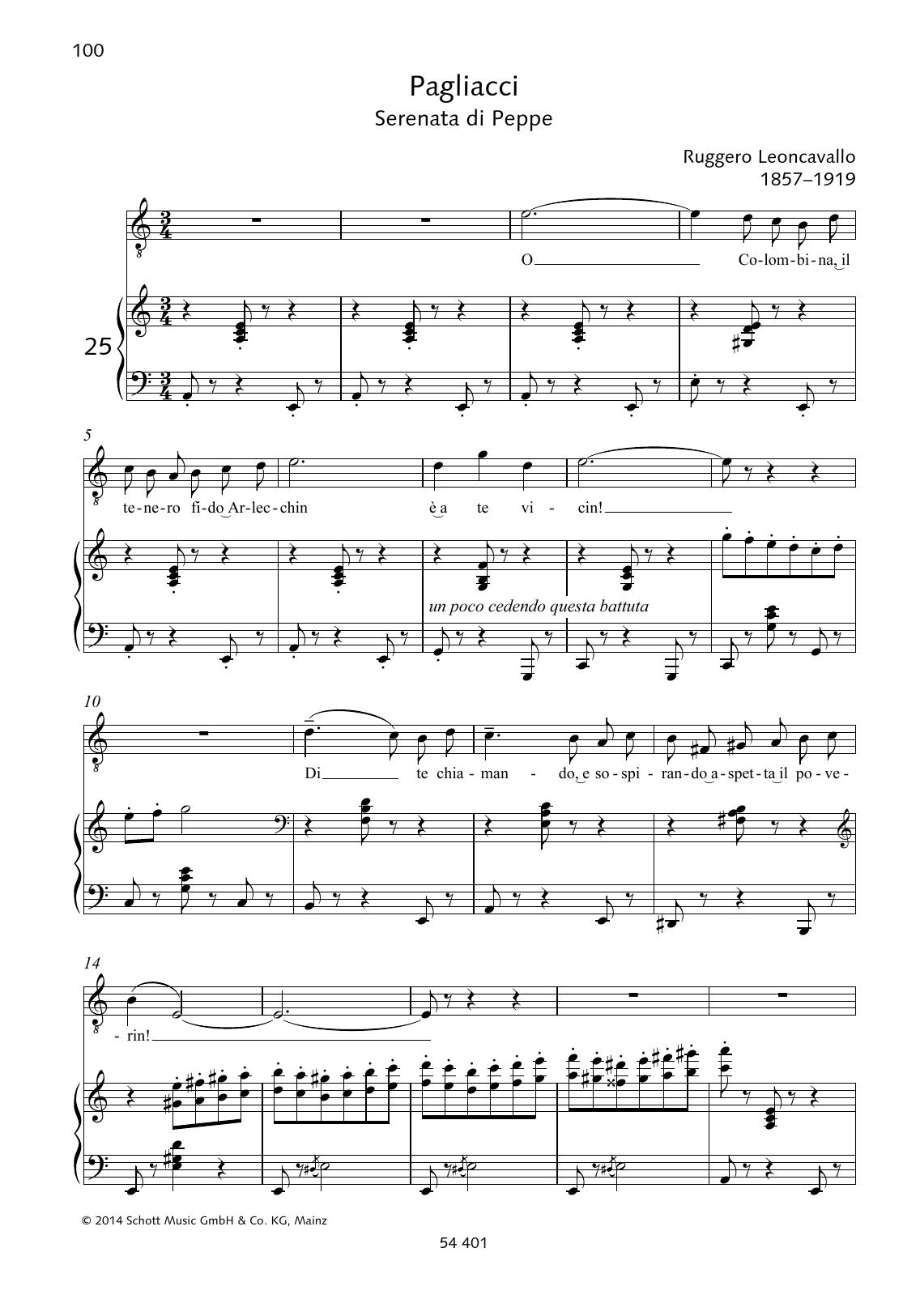 O Colombina, il tenero fido Arlecchin Sheet Music