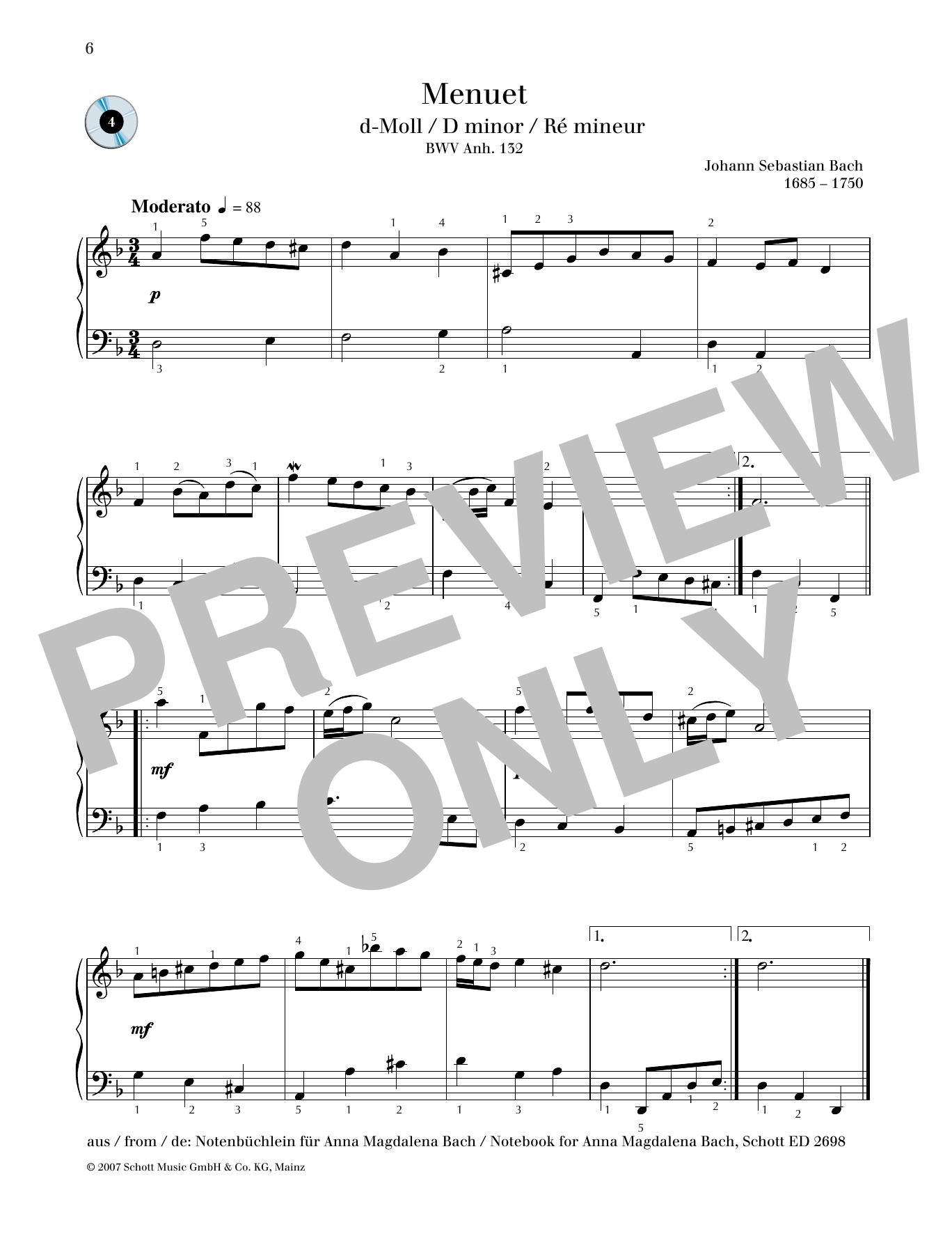 Minuet D minor Sheet Music