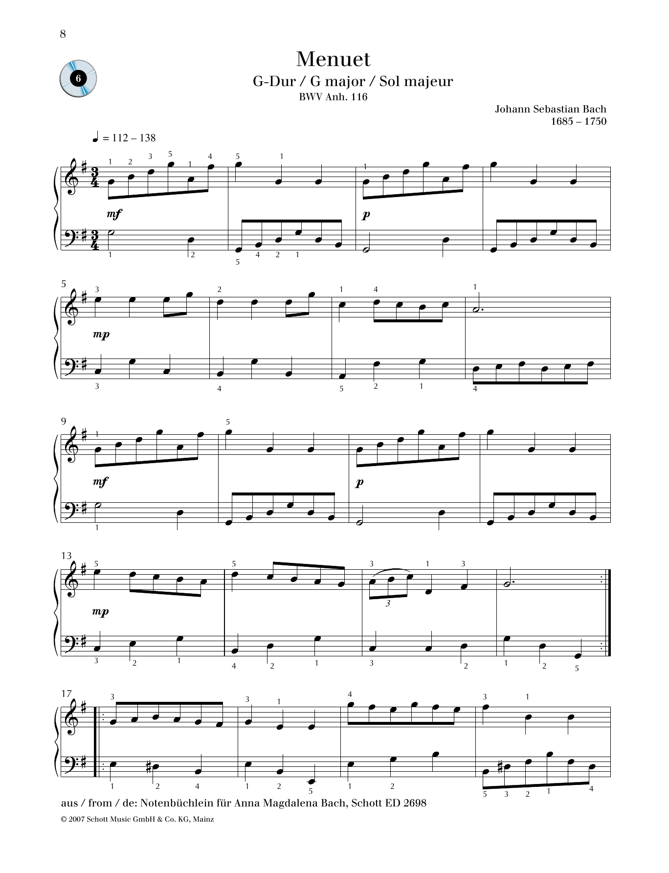 Minuet G major Sheet Music