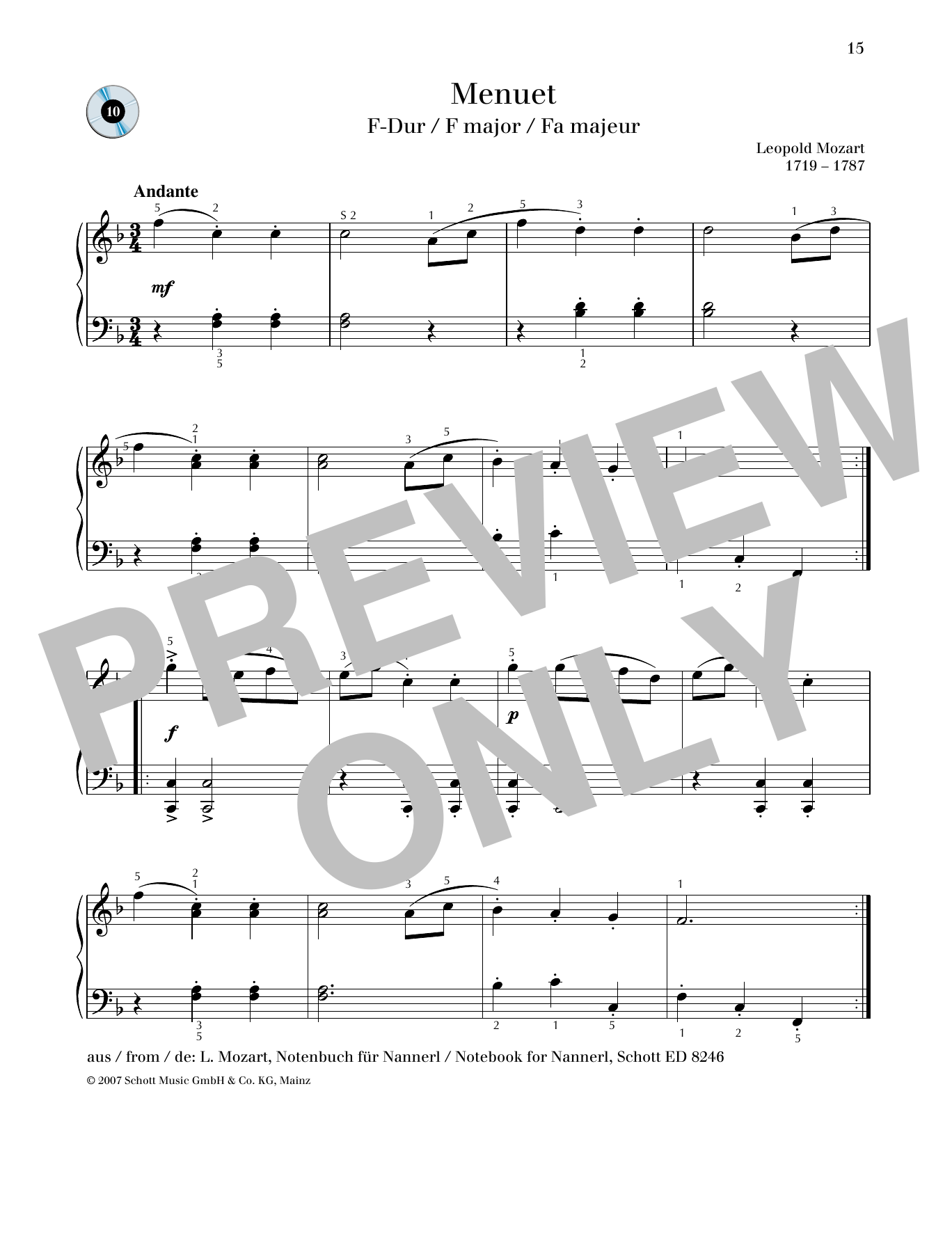 Minuet F major Sheet Music