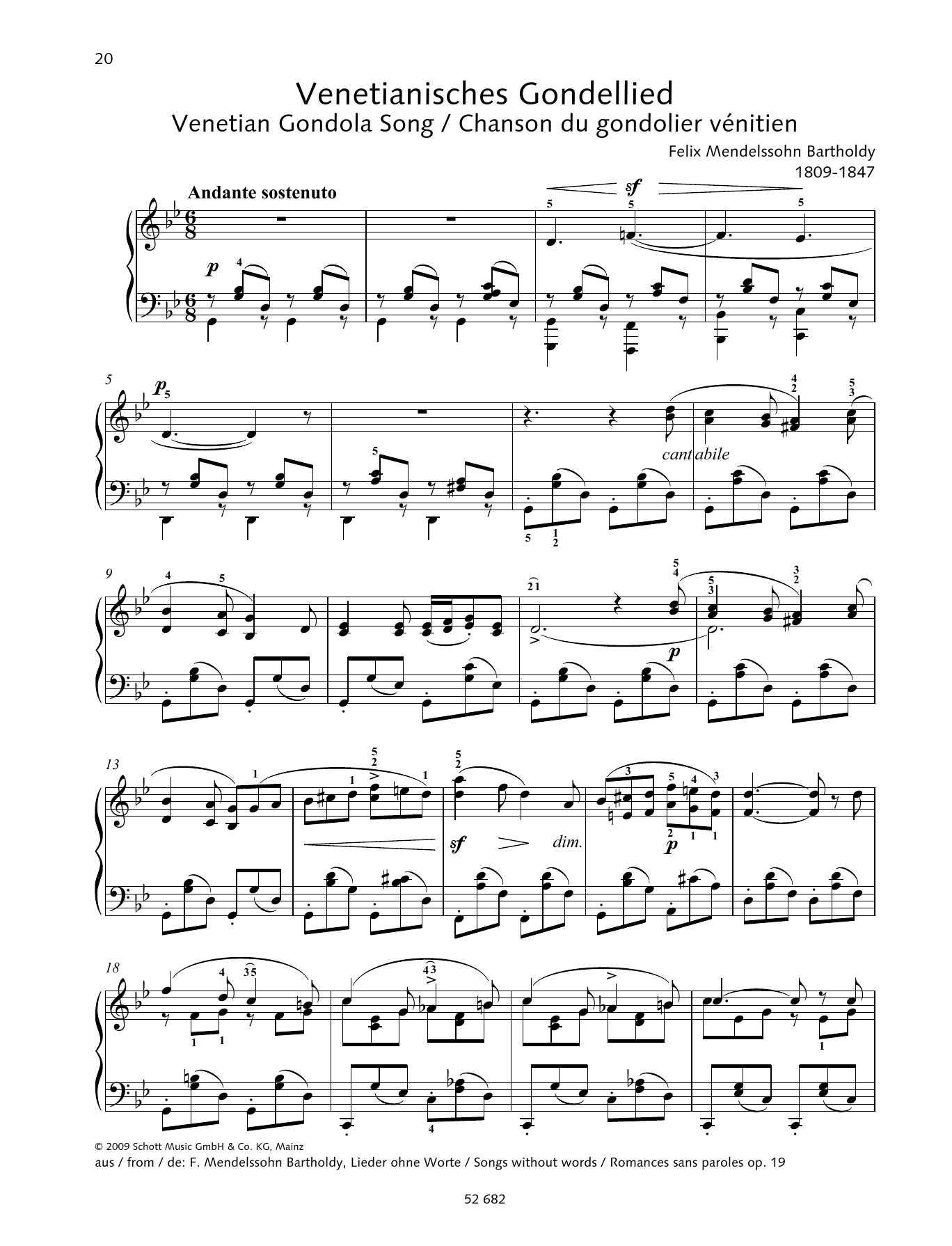 Venetian Gondola Song in G minor Sheet Music