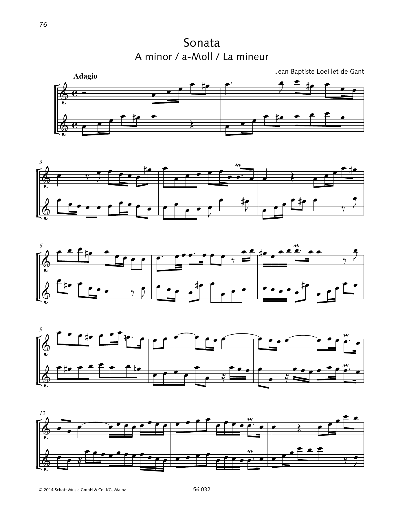 Sonata A Minor Sheet Music
