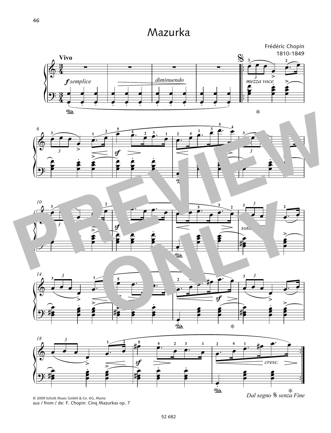 Mazurka in G major Sheet Music