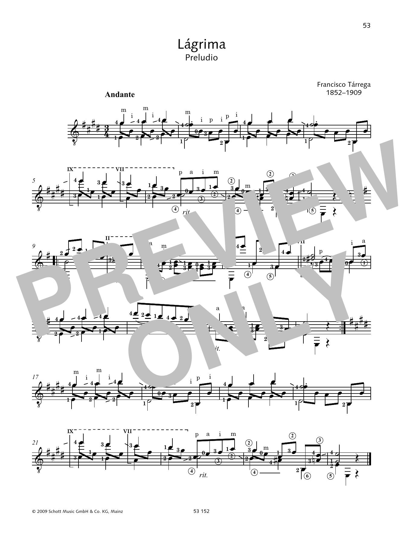 Lágrima Sheet Music