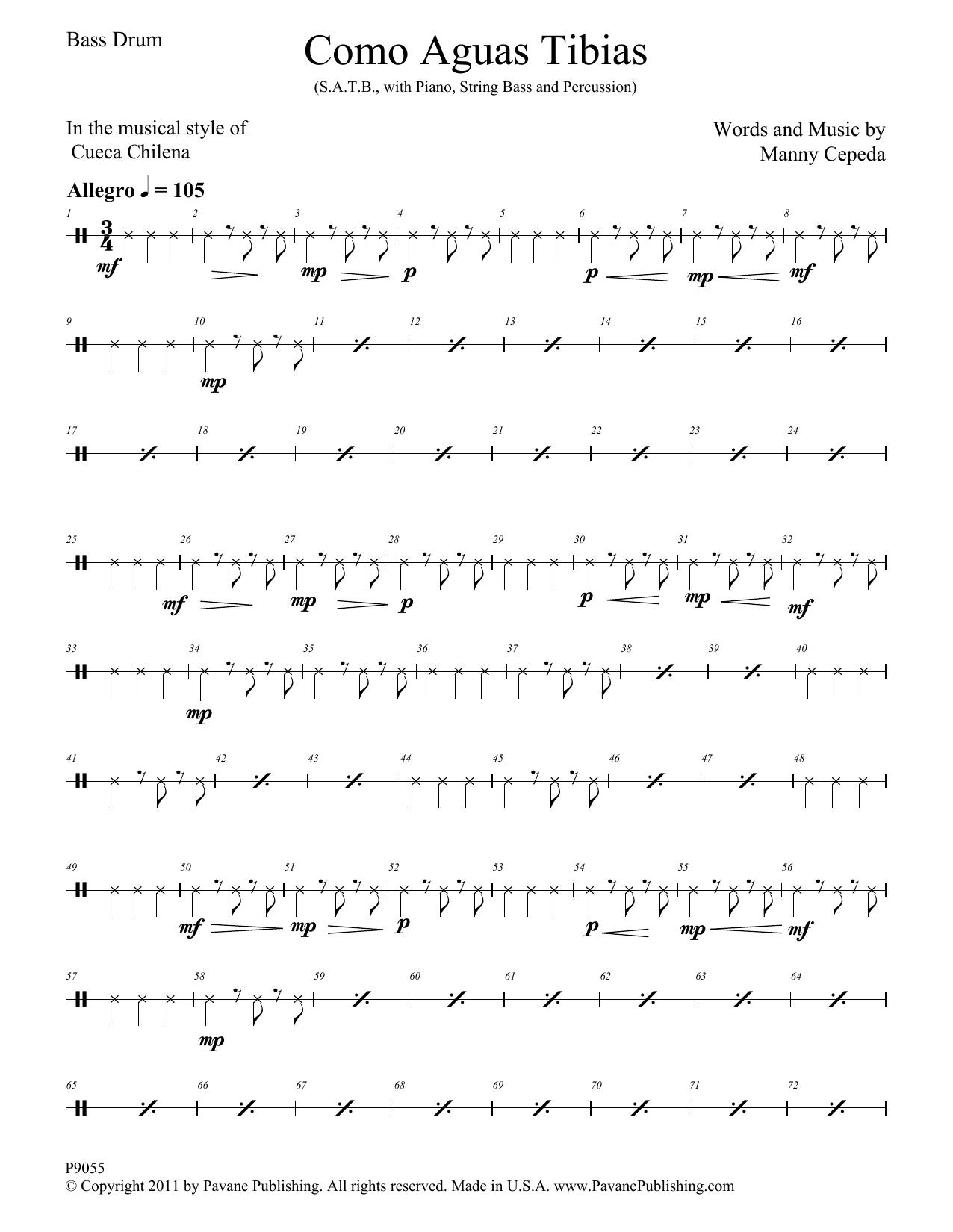 Como Aguas Tibias - Bass Drum Sheet Music