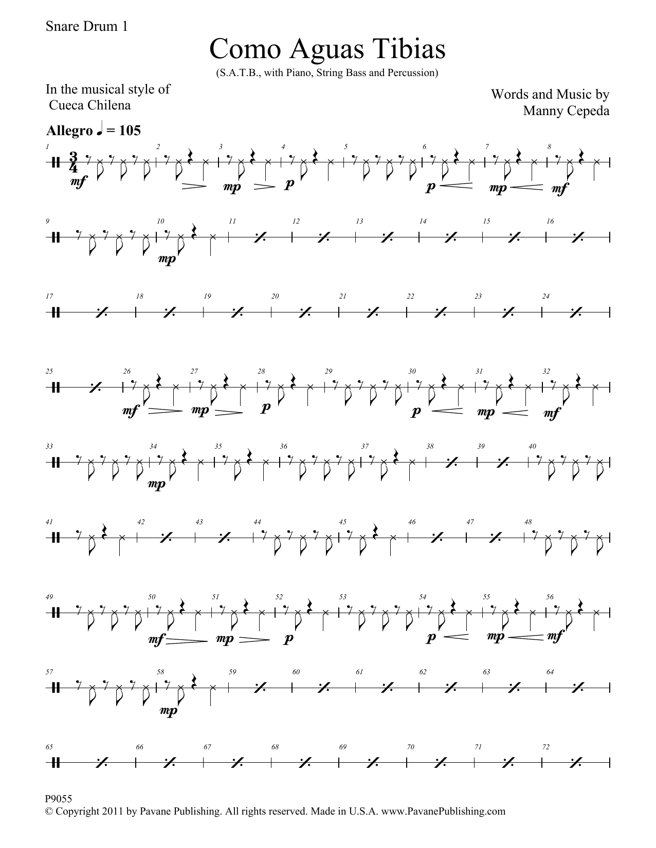 Como Aguas Tibias - Snare Drum Sheet Music