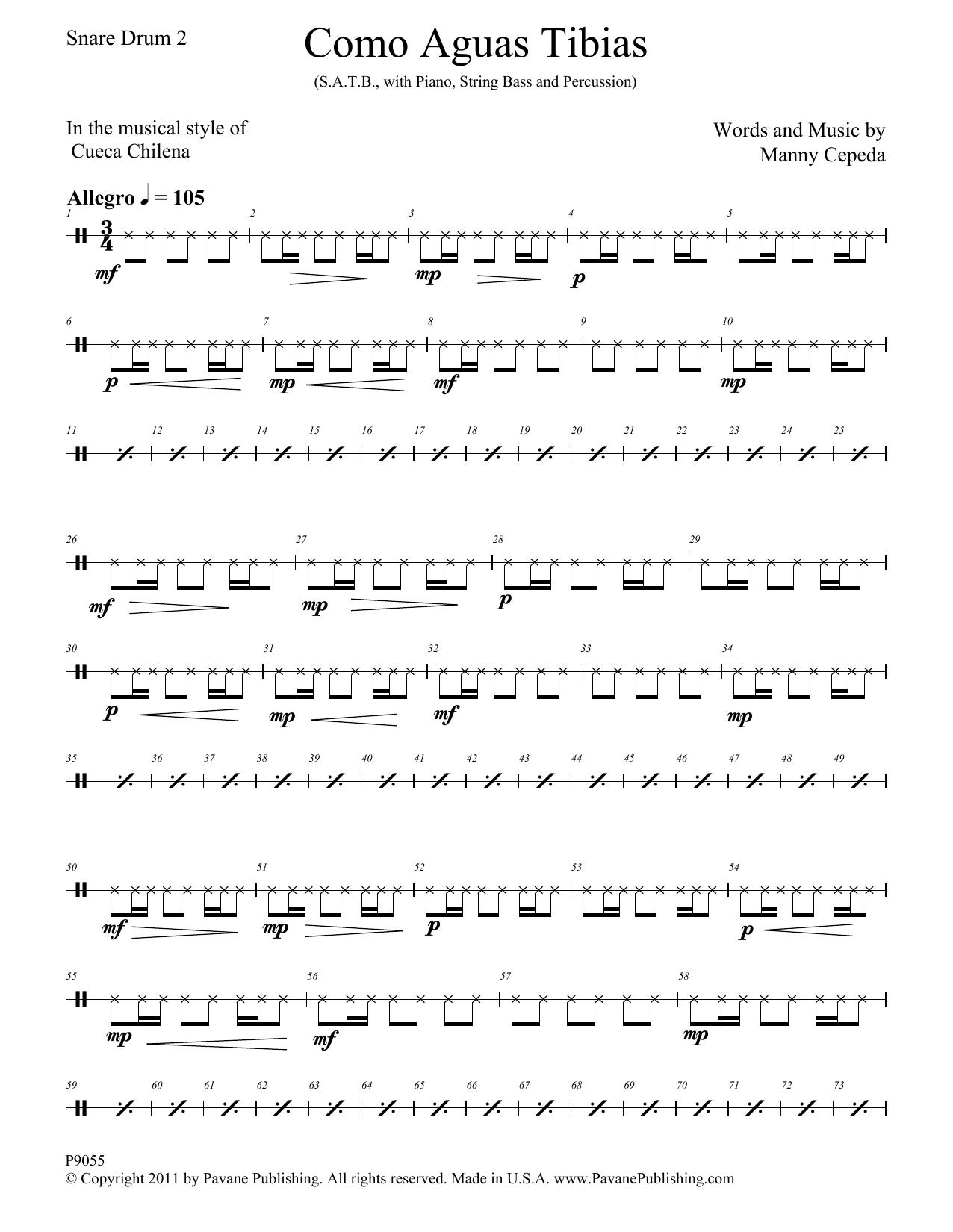 Como Aguas Tibias - Snare Drum Sheet Music