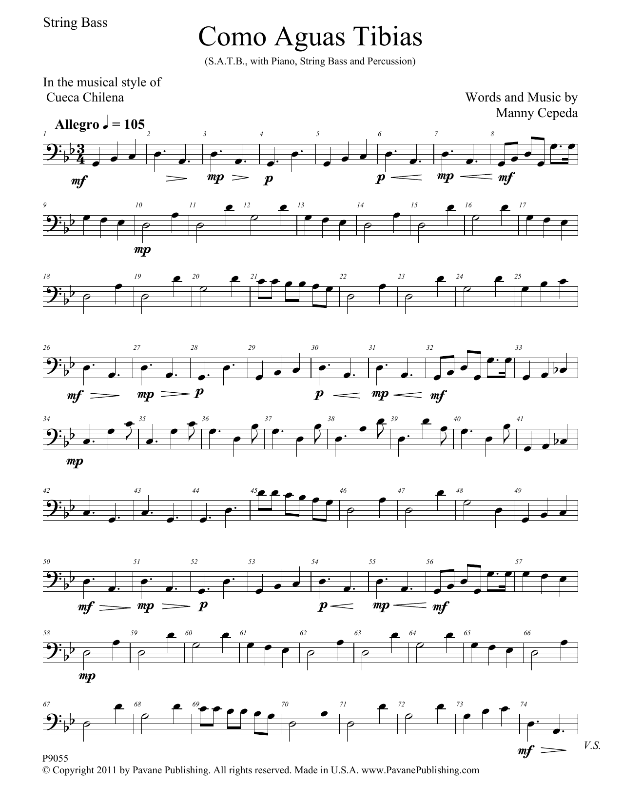 Como Aguas Tibias - String Bass Sheet Music