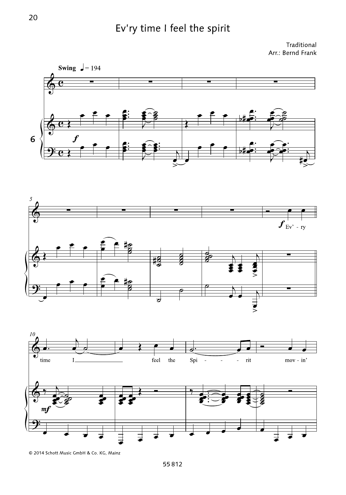 Ev'ry Time I Feel The Spirit Sheet Music